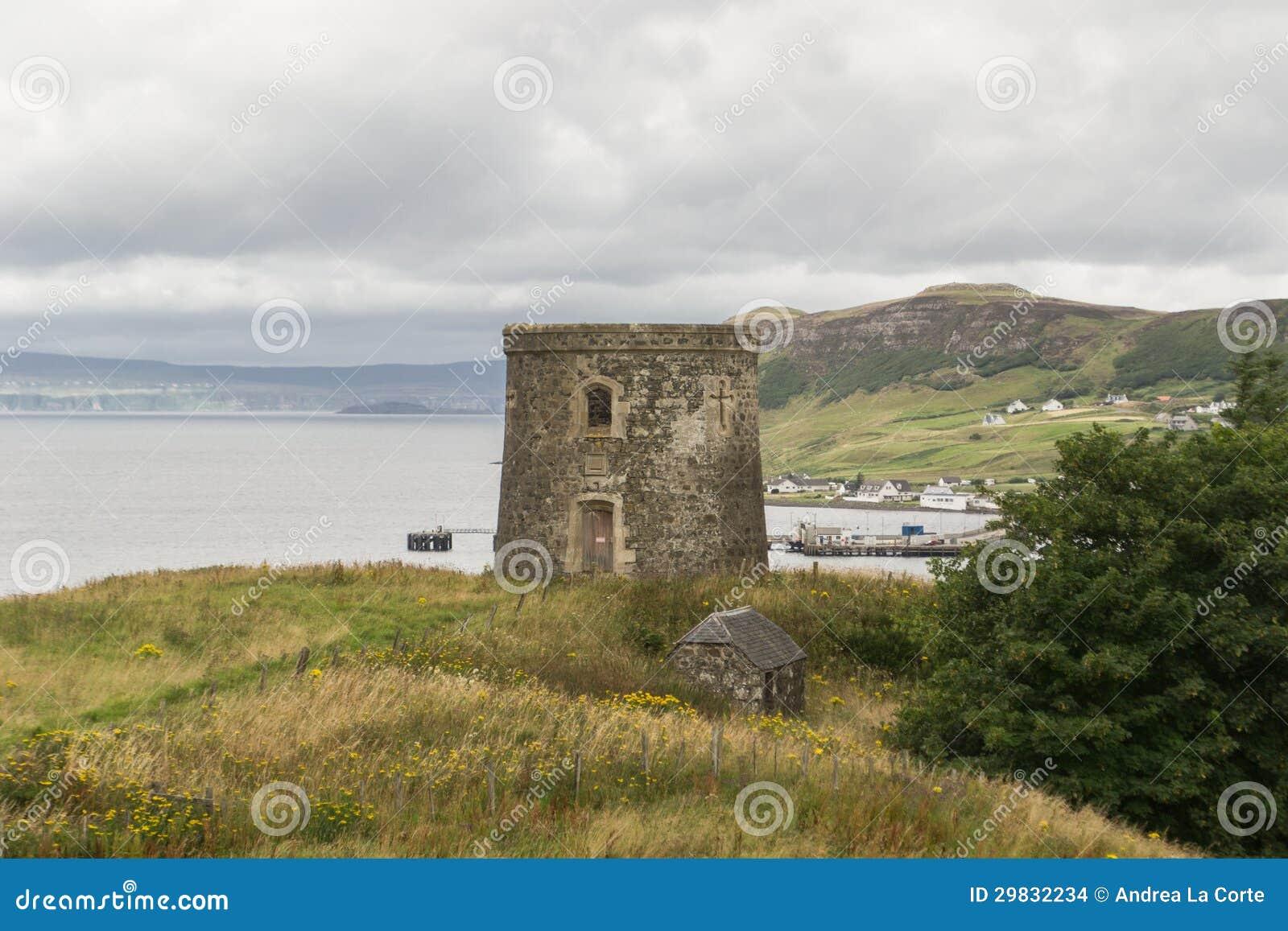 Ilha da torre de Uig de Skye, Scotland.