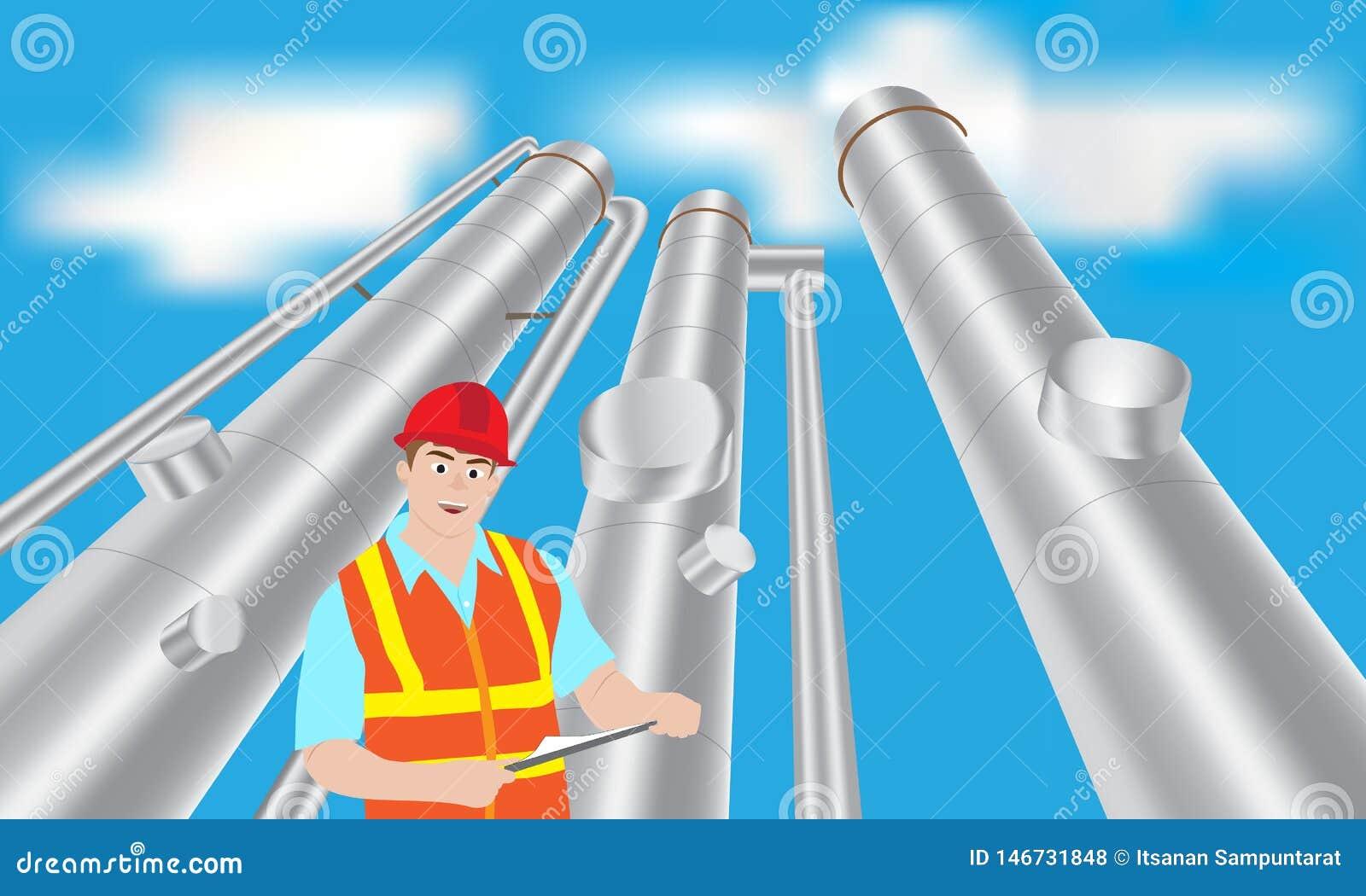 Torre da verificação do local do trabalhador da refinaria de petróleo