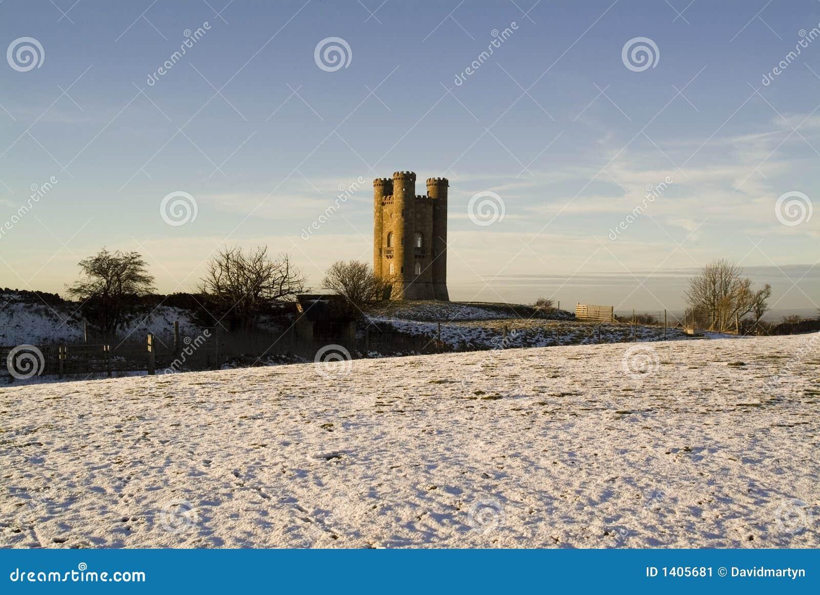 Torre De Broadway No Inverno Os Cotswolds Inglaterra Reino