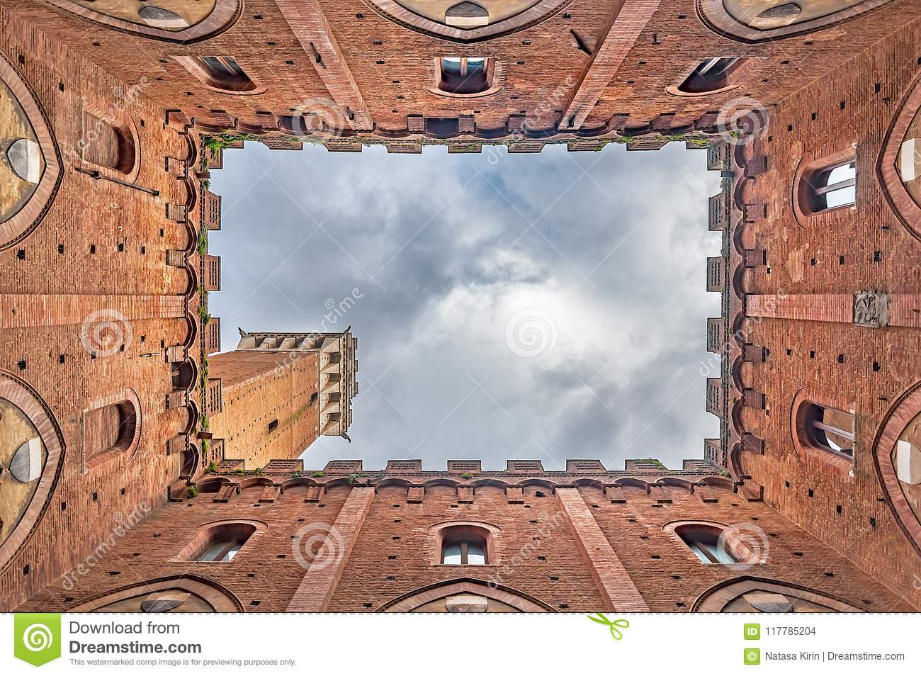 Torre del Mangia in Siena, Italy, seen from the inside of Palazzo Pubblico