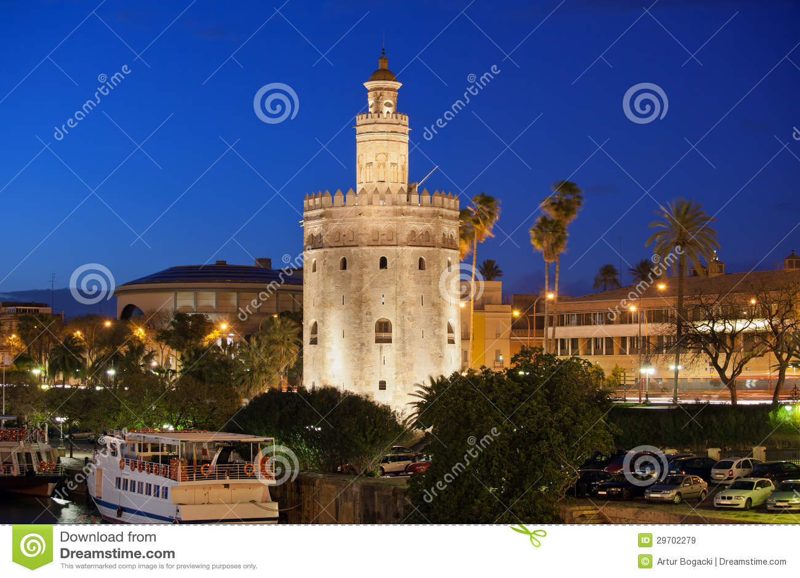 Torre del Oro at Night in Seville