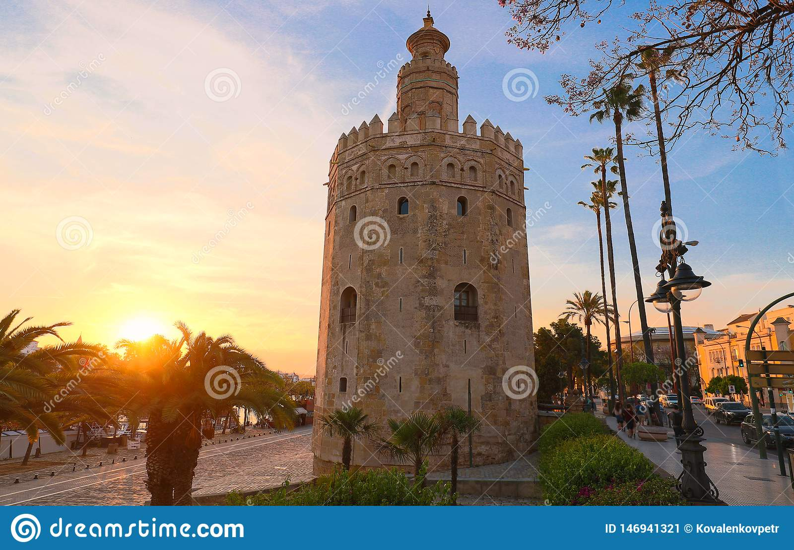 Torre del Oro -Tower of Gold on the bank of the Guadalquivir river, Seville, Spain