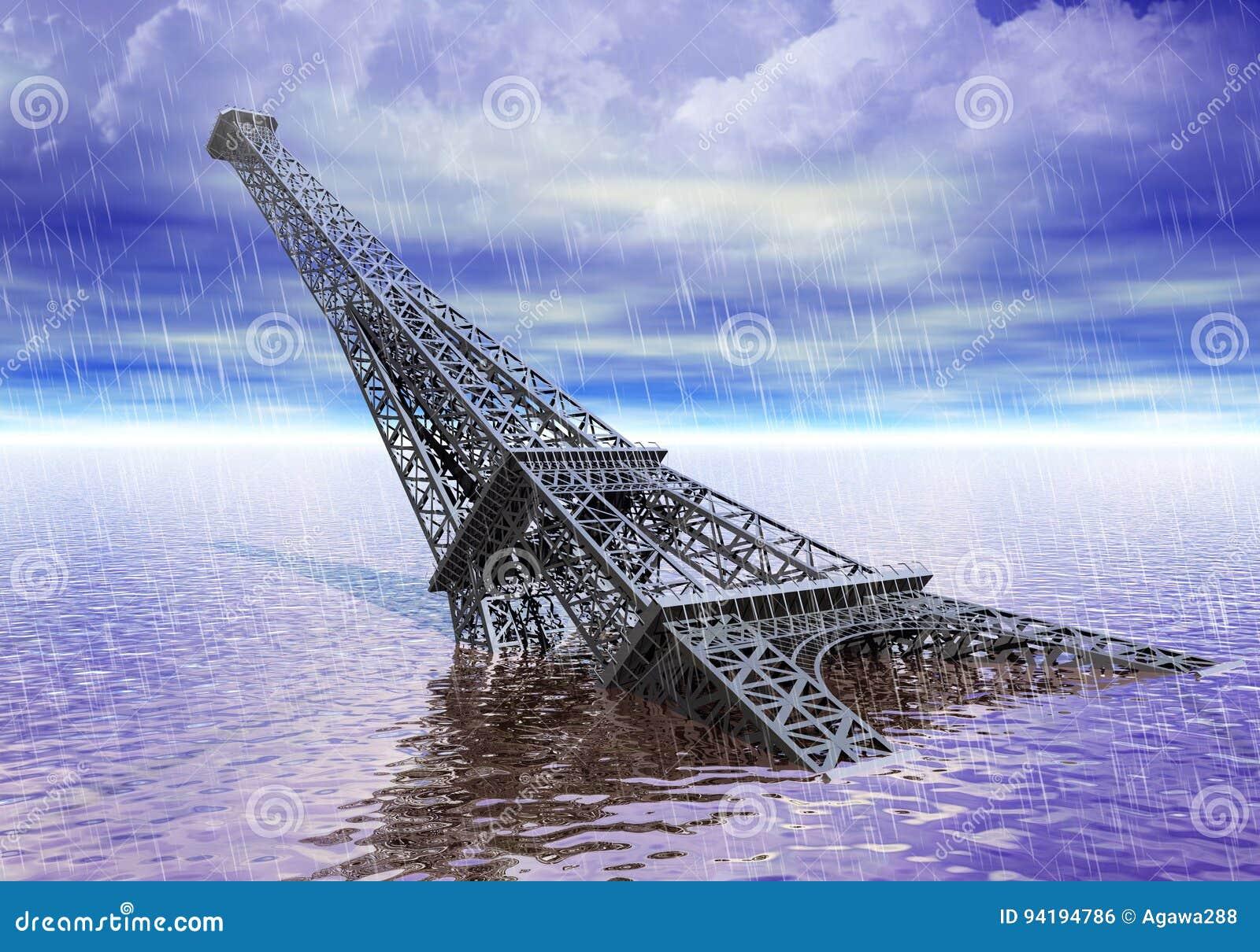 Torre Eiffel bajo la inundación del agua y concepto de los cambios de clima