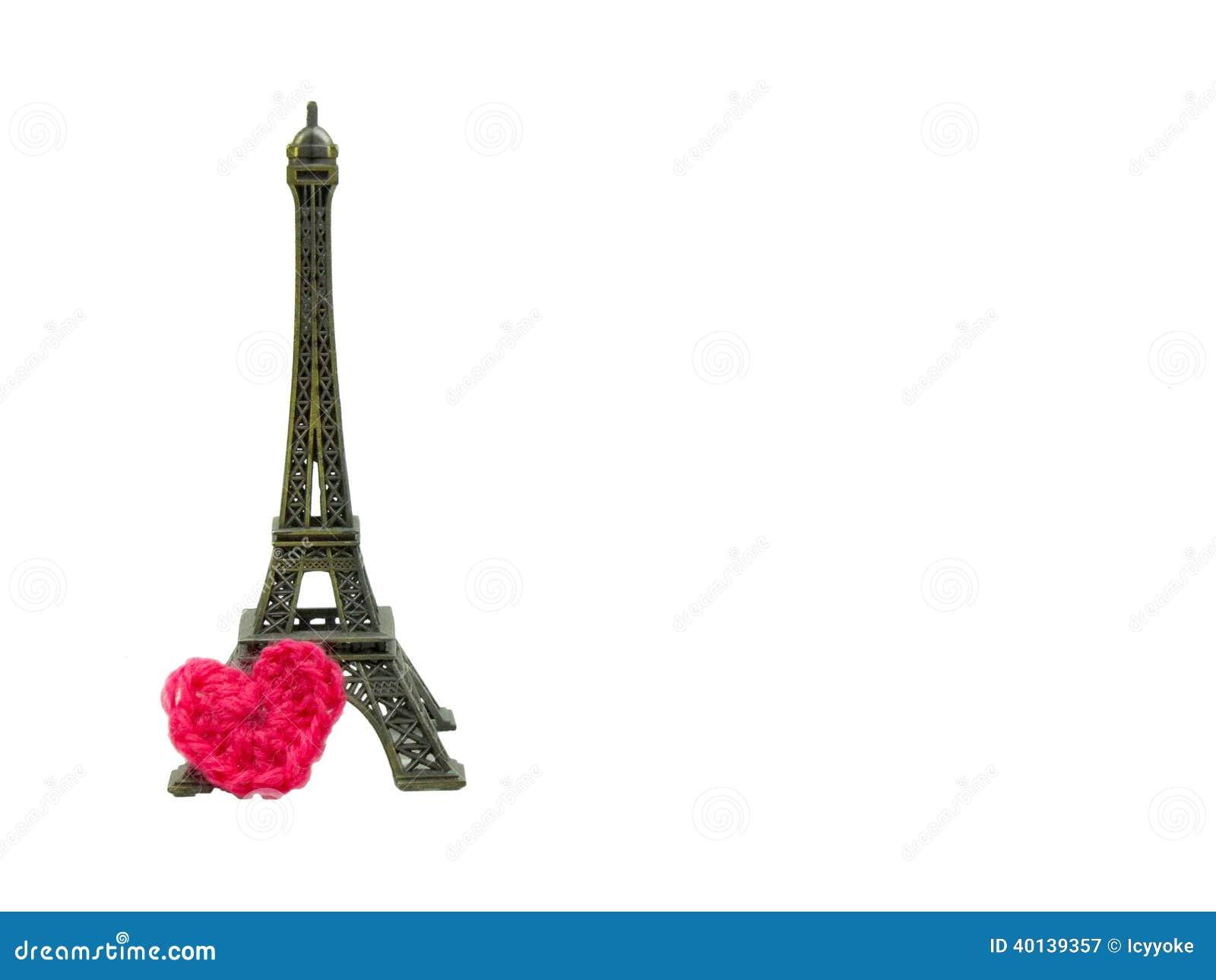 Torre Eiffel Con El Corazón Del Ganchillo Aislado Imagen