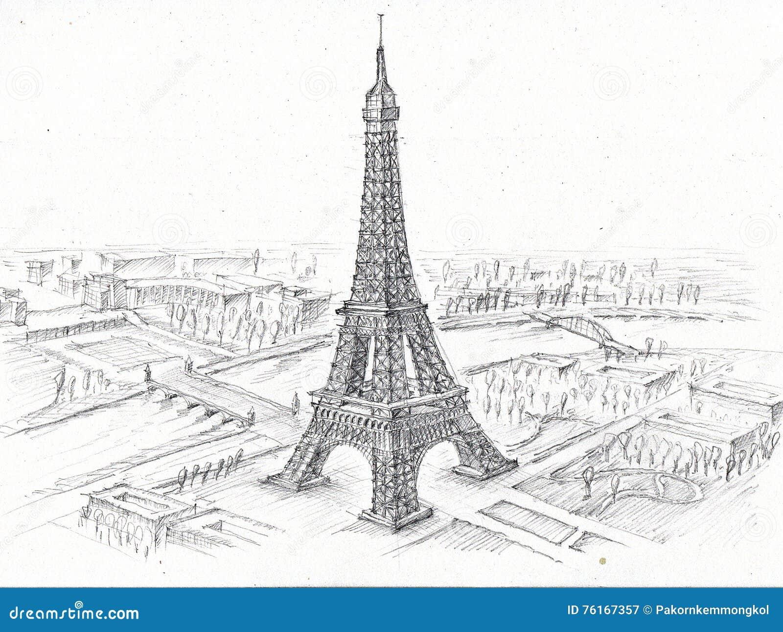 Torre Ifel En Dibujo: Torre Eiffel Del Dibujo De Lápiz Stock De Ilustración
