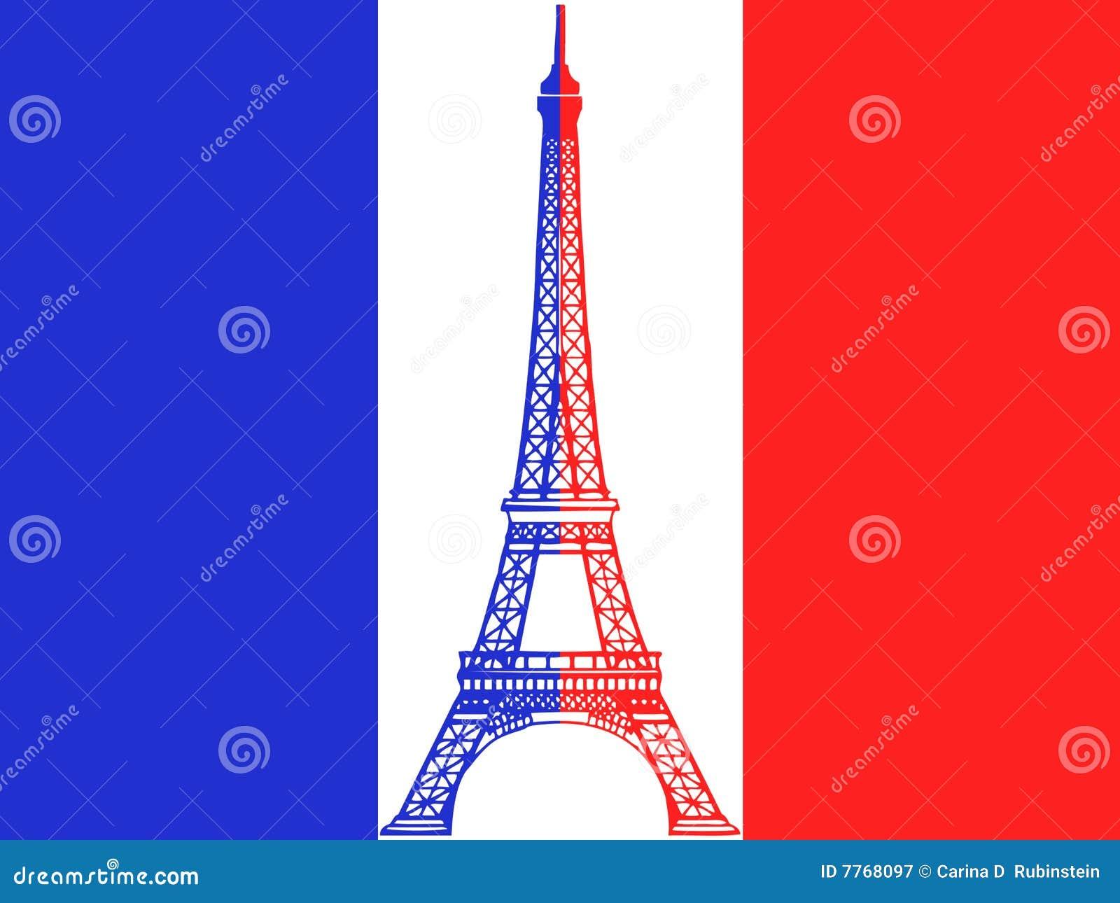 Torre Eiffel do vetor e bandeira francesa