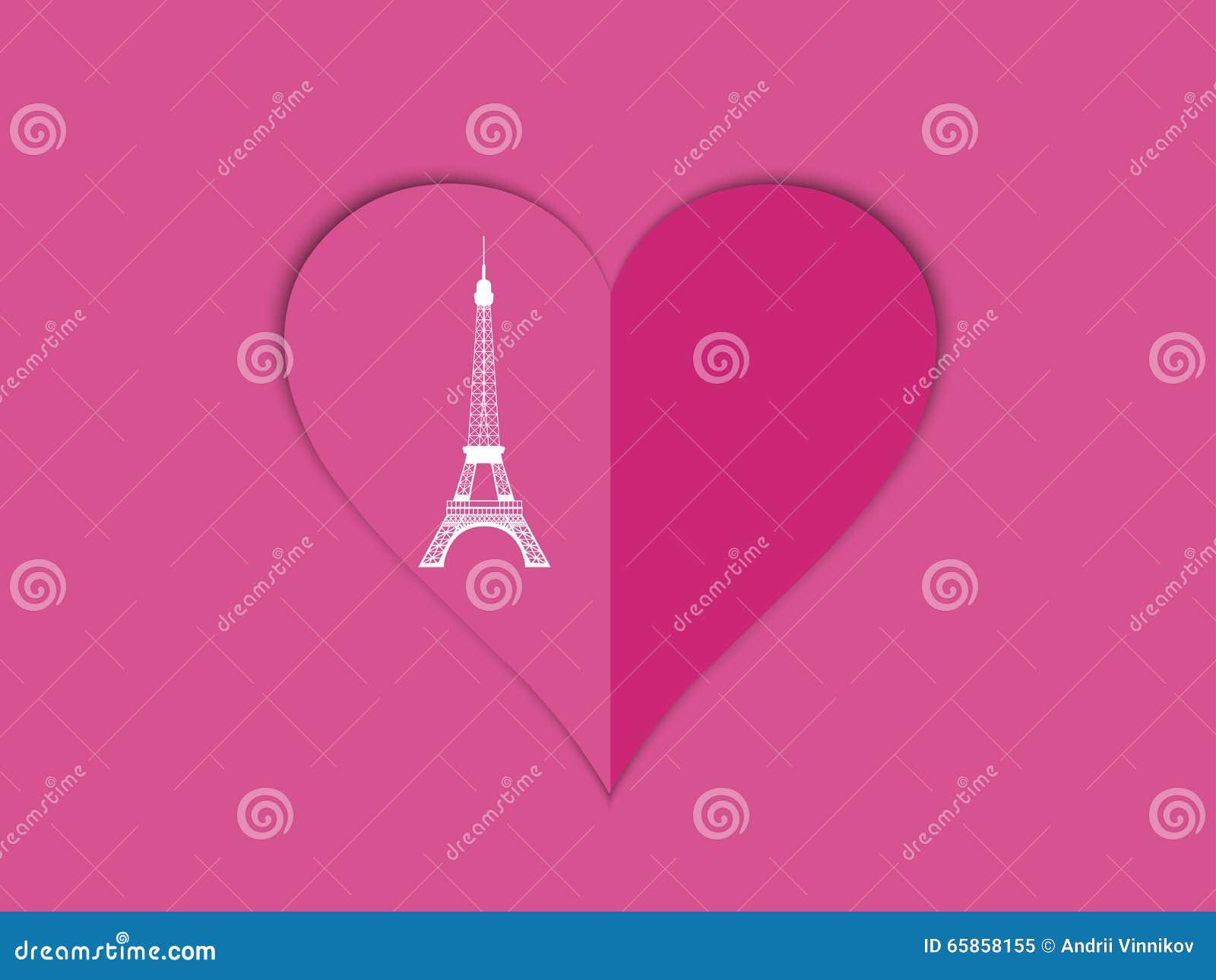 A Torre Eiffel E O Coracao Com Sombra Molde Romantico Fo