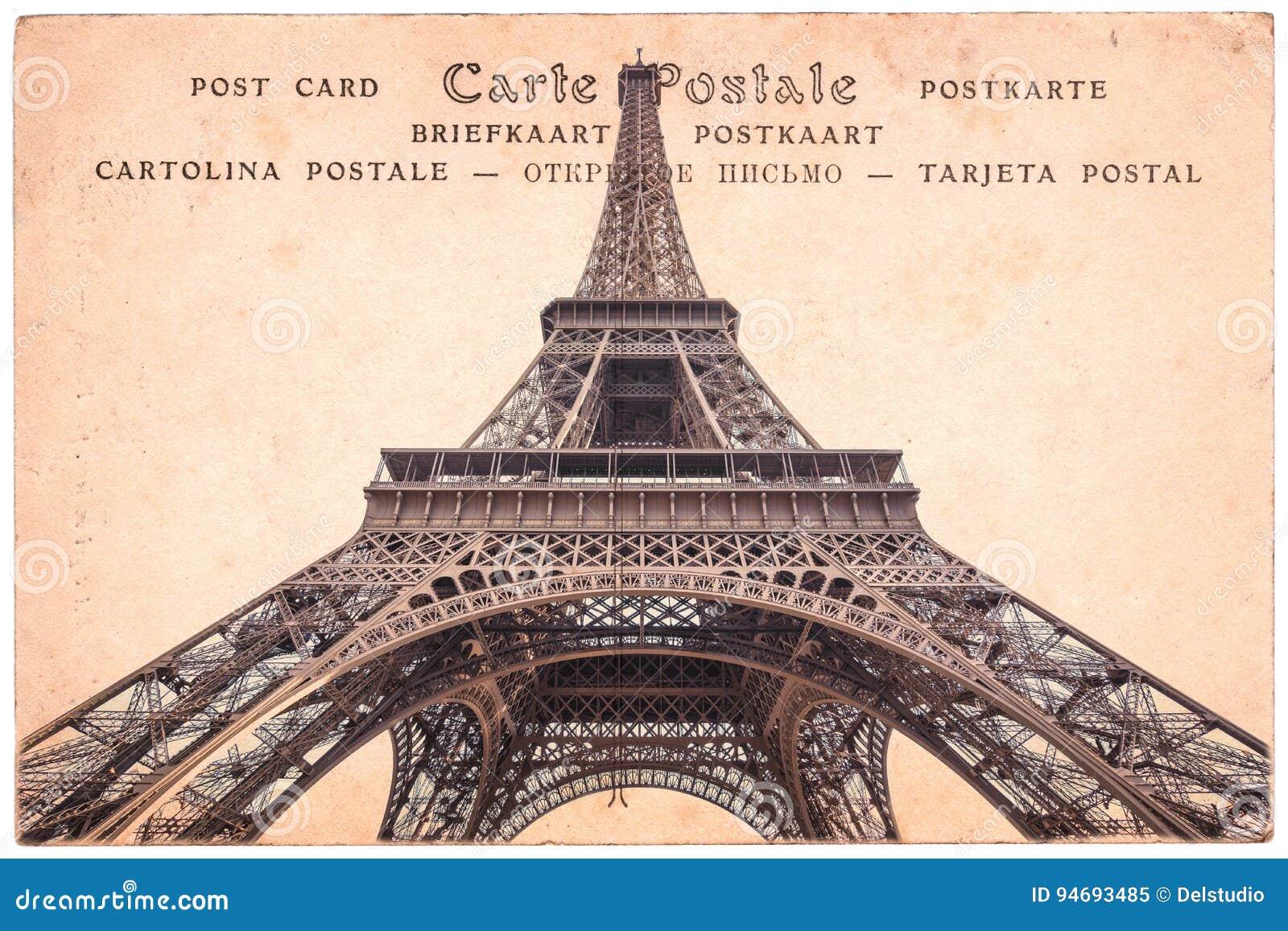 Torre Eiffel em Paris, França, colagem no fundo do cartão do vintage do sepia, cartão da palavra em diversas línguas