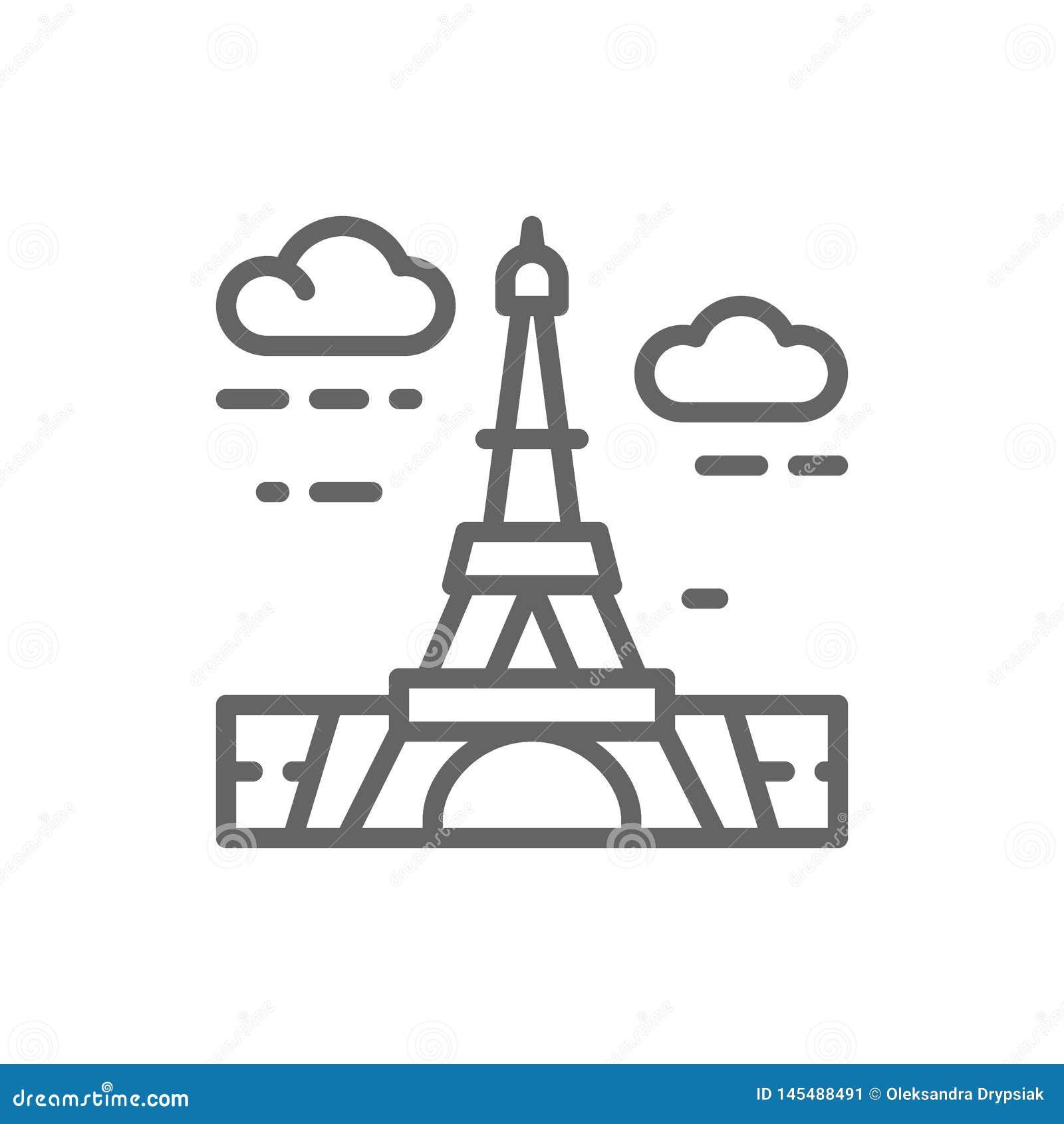 Torre Eiffel, Fran?a, linha ?cone do marco