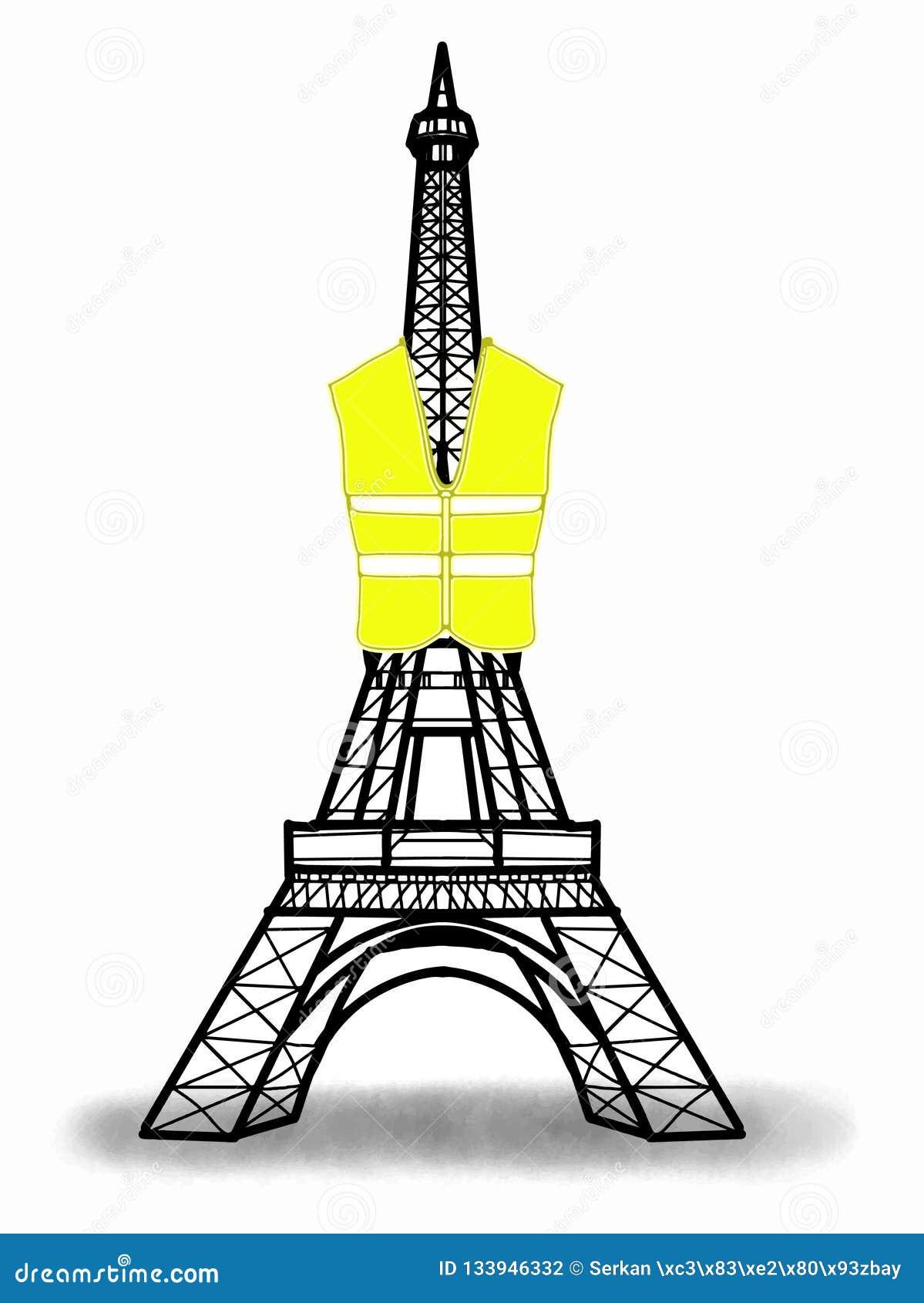 Torre Eiffel que lleva el ejemplo amarillo del chaleco del ejemplo amarillo del chaleco