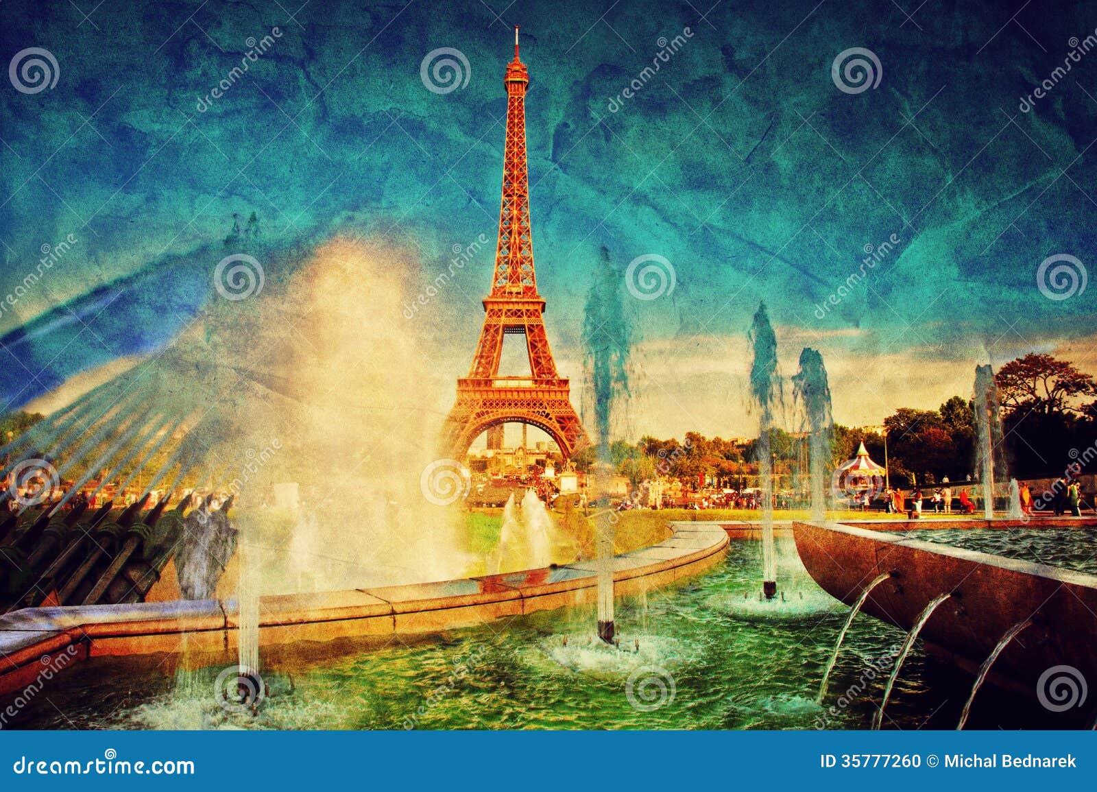 Torre Eiffel y fuente, París, Francia. Vintage