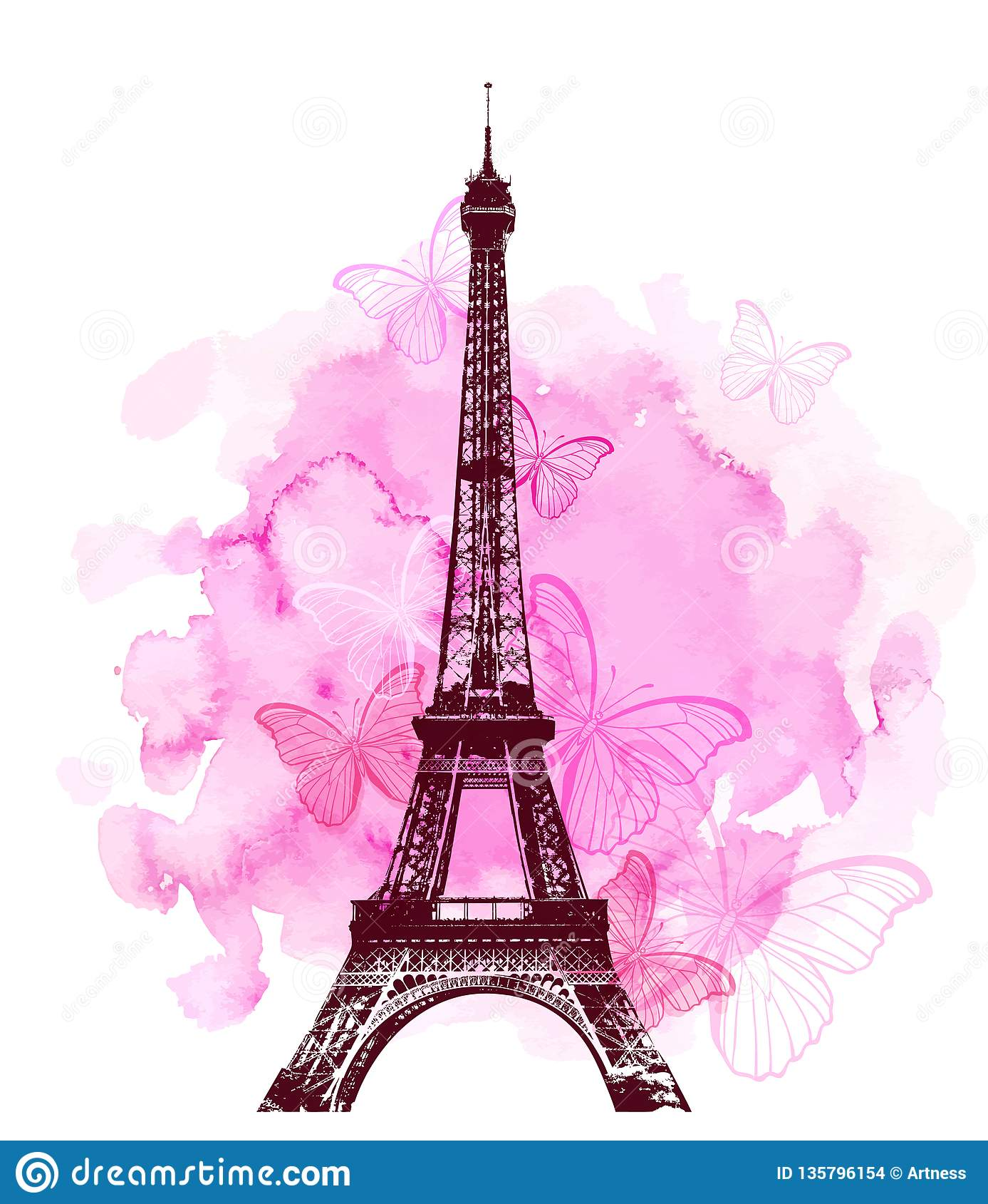 Torre Eiffel Y Mariposa En Un Fondo Rosado Ilustración Del