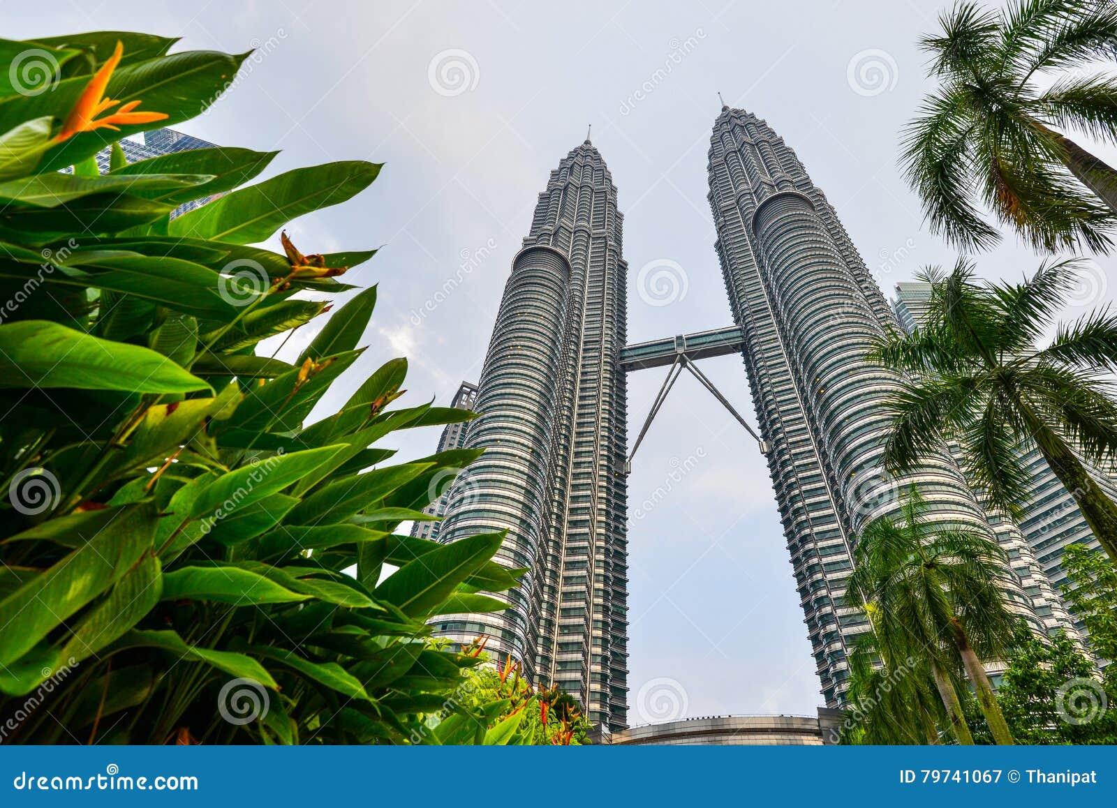 Torre gemela con primero plano de los árboles en Kuala Lumpur, Malasia
