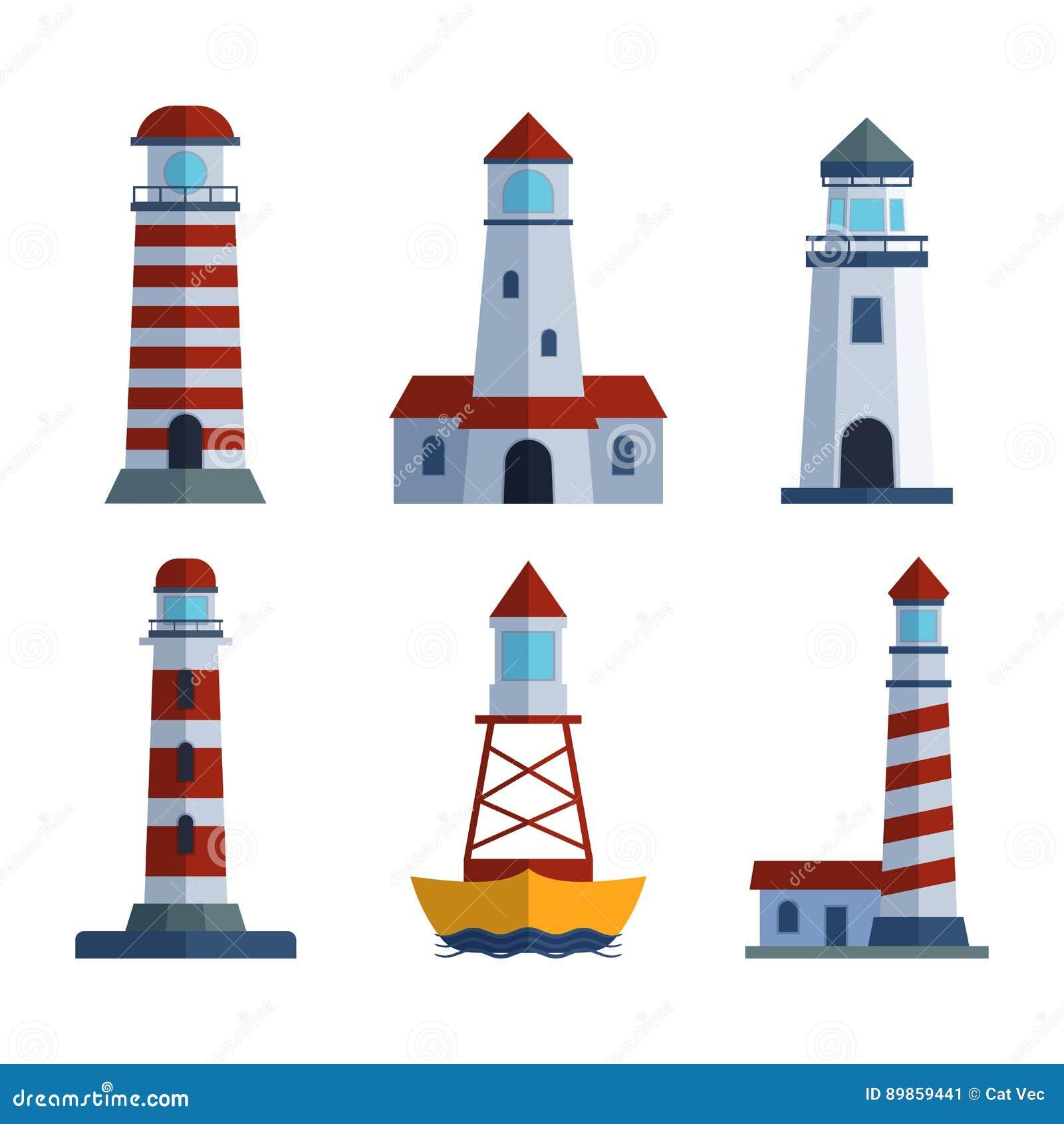 torre lisa do holofote do farol dos desenhos animados para a
