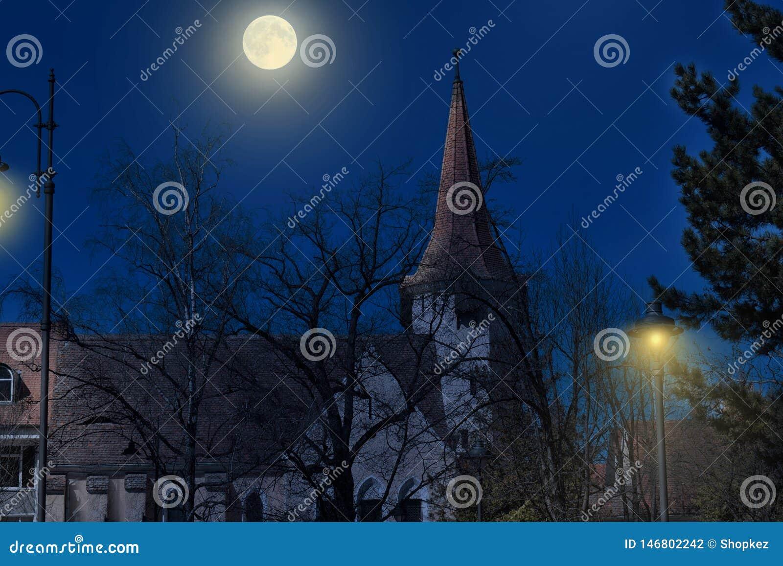 Torre medieval del castillo en el claro de luna