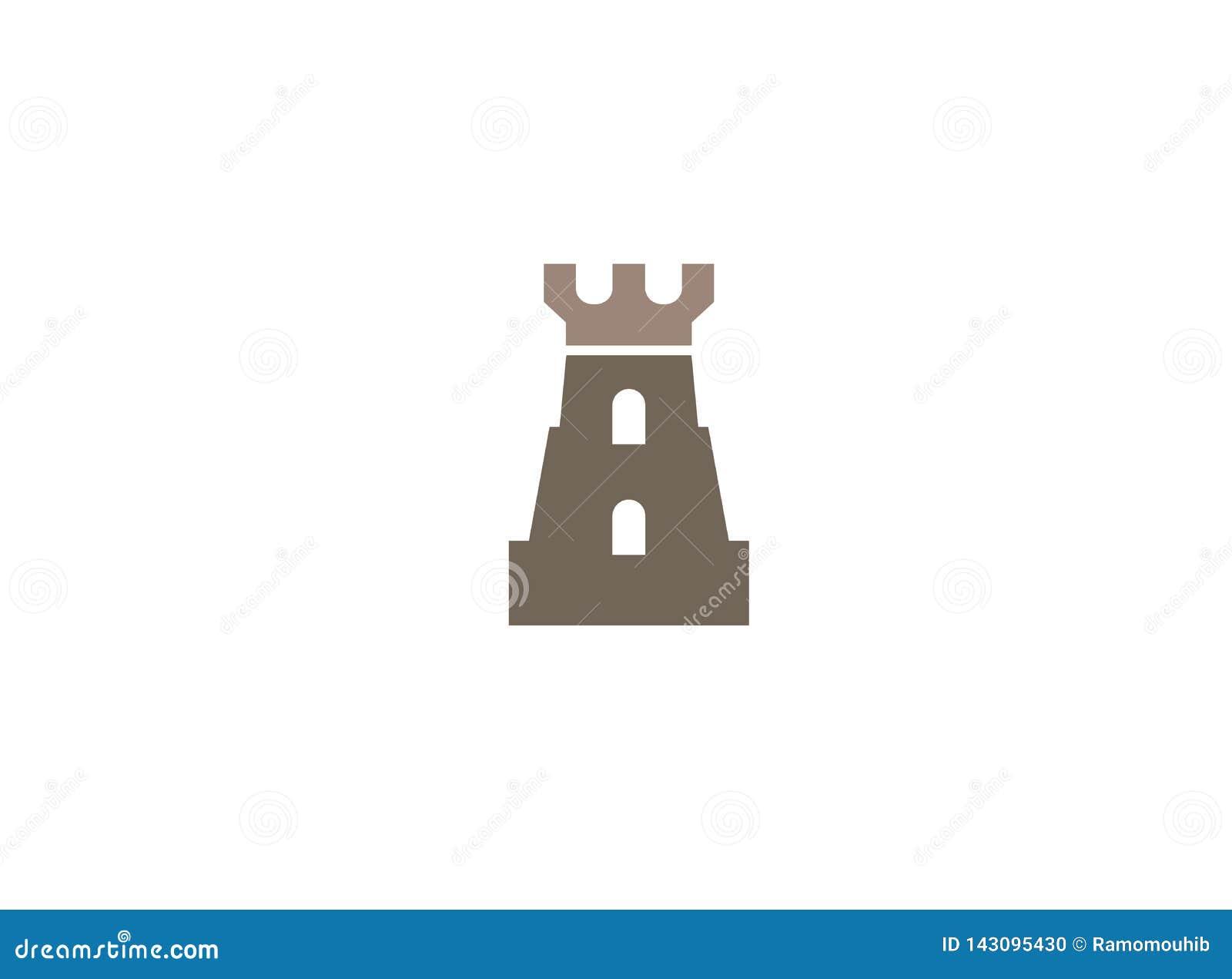 Torre vieja del castillo con la puerta grande en las ventanas para el ejemplo del diseño del logotipo