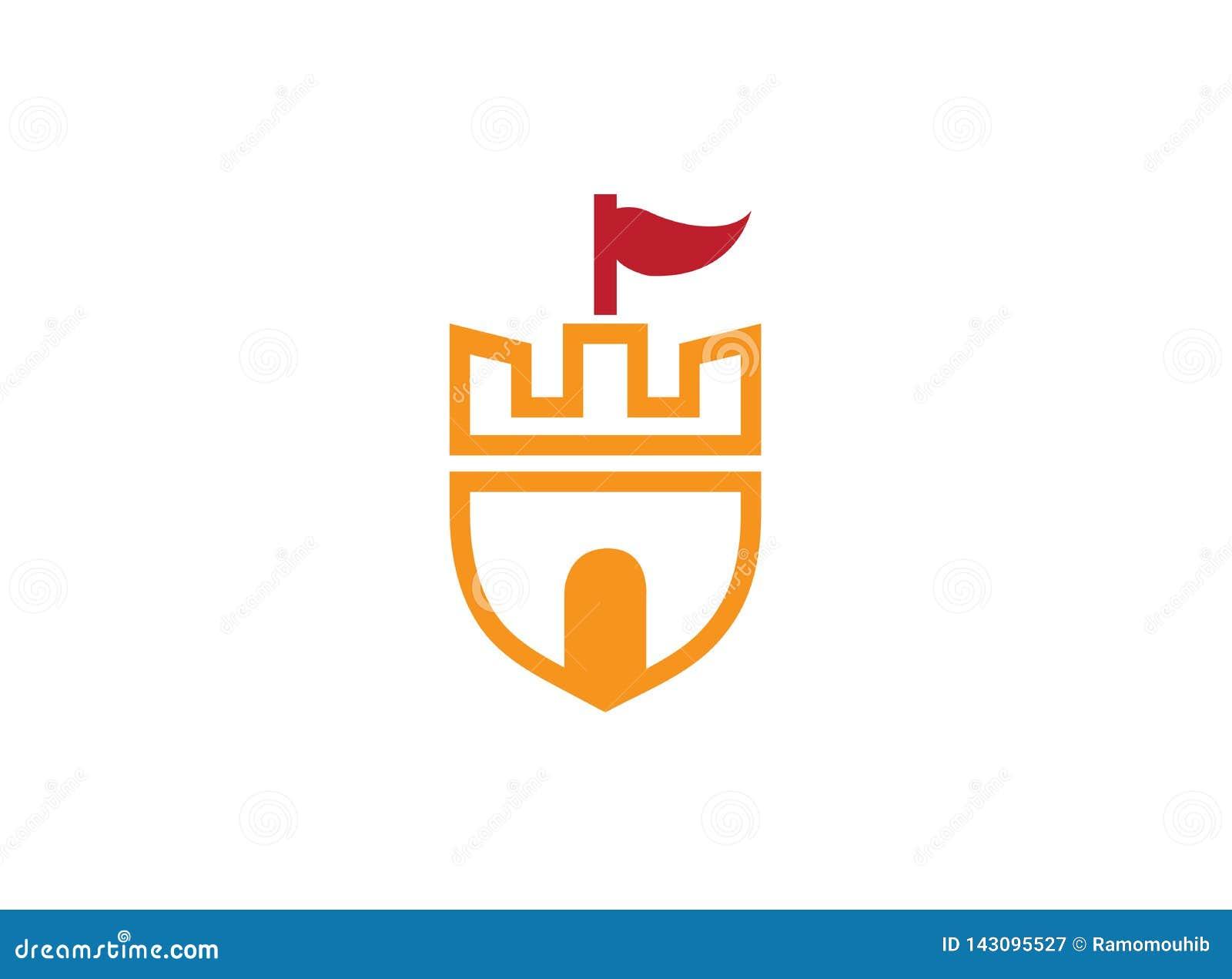 Torre vieja del castillo en un símbolo del escudo con una bandera en la puerta superior y grande para el ejemplo del diseño del l