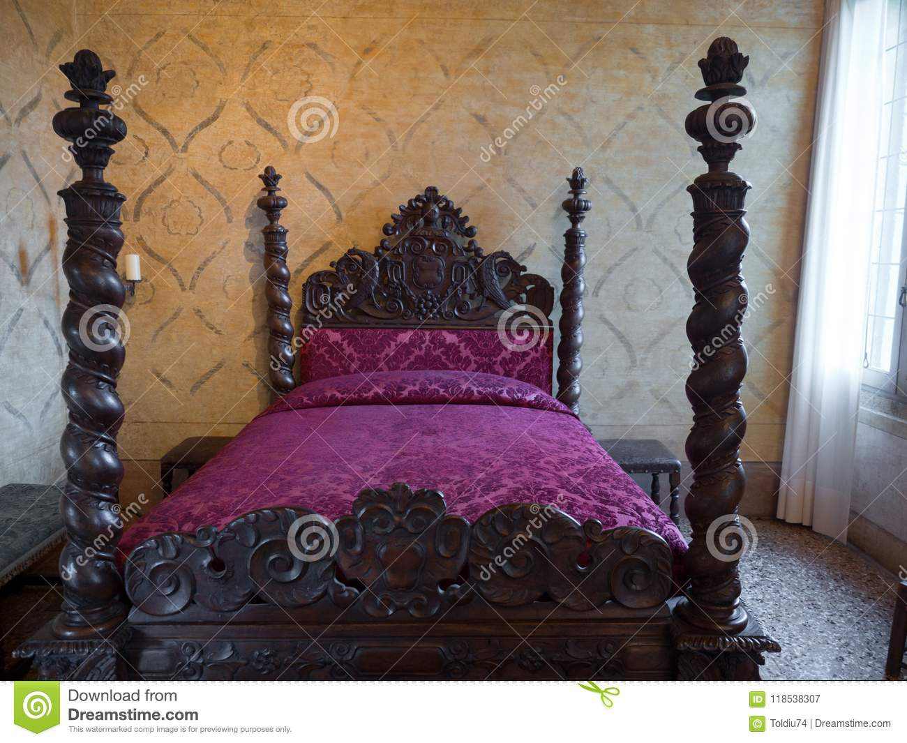 Antique Four Poster Bed With Headboards Carved Inside Villa Dei Editorial Photography Image Of Cherry Bedroom 118538307