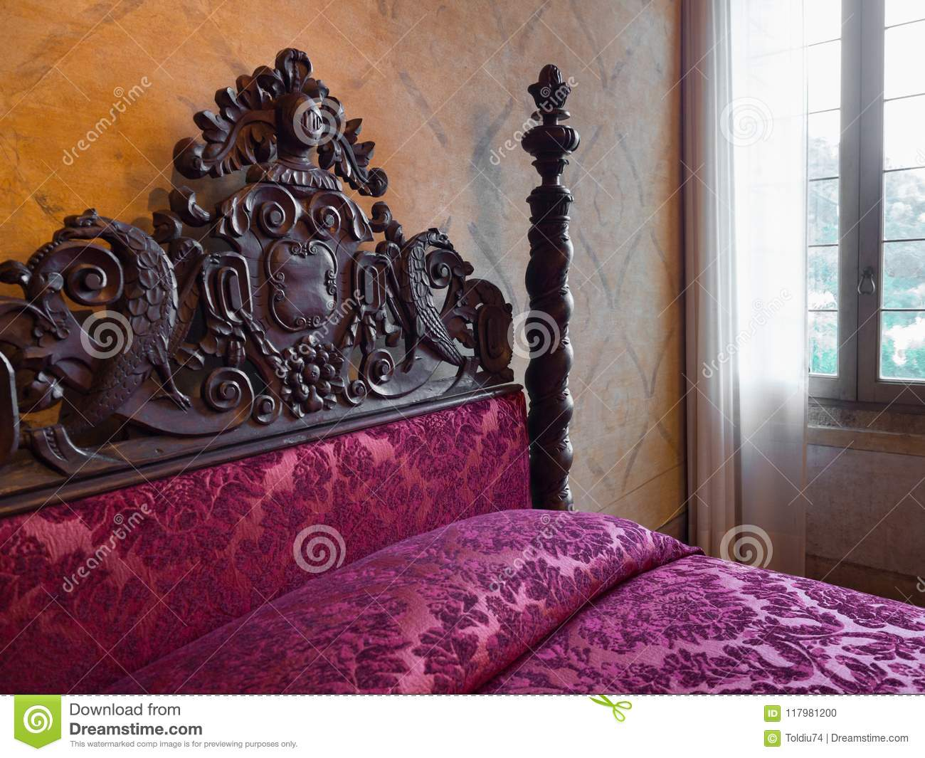 Antique Four Poster Bed With Headboards Carved Inside Villa Dei Editorial Image Image Of Pillows Carving 117981200