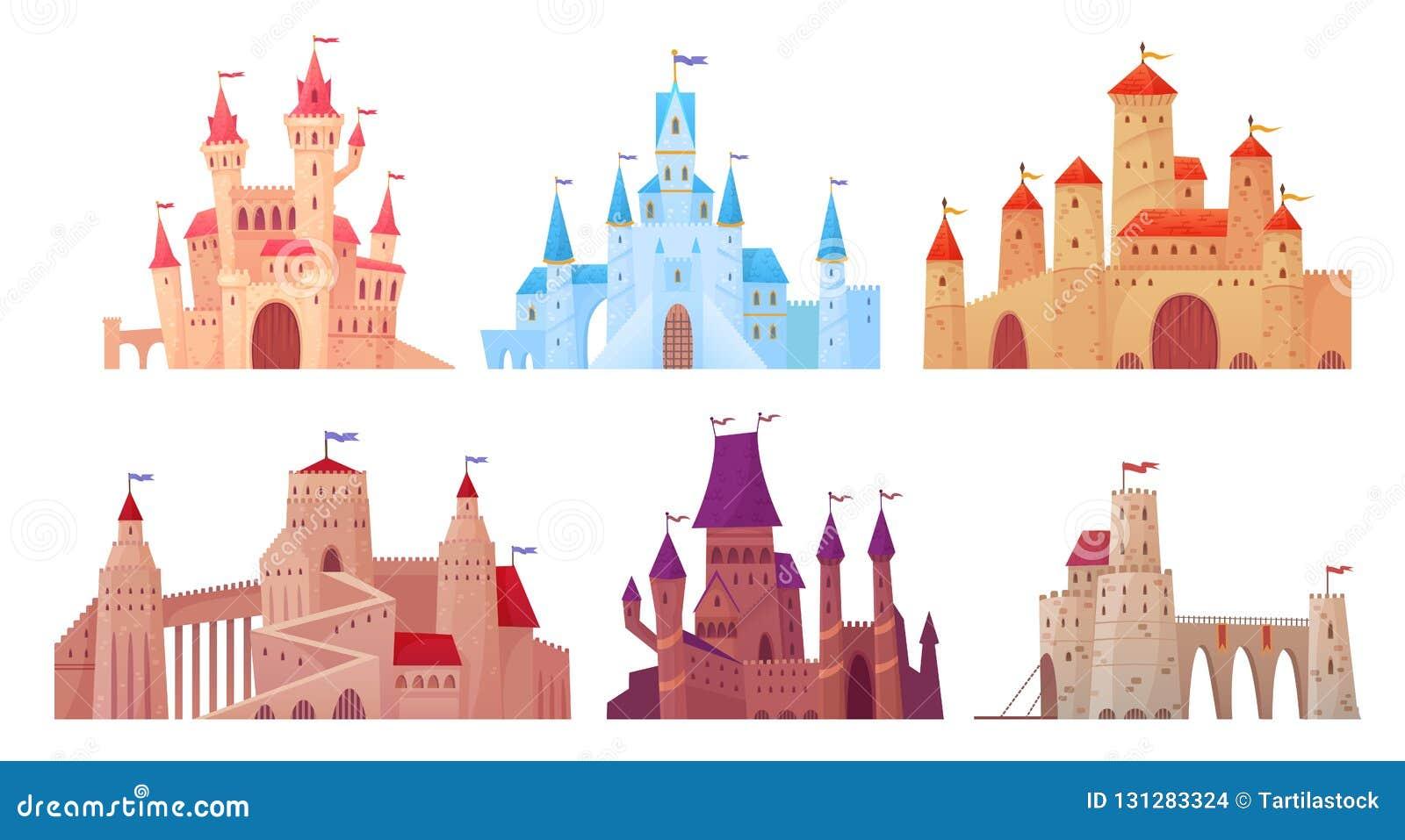 Torres medievales del castillo Exterior de la mansión de Fairytail, castillos de la fortaleza del rey y palacio fortificado con v