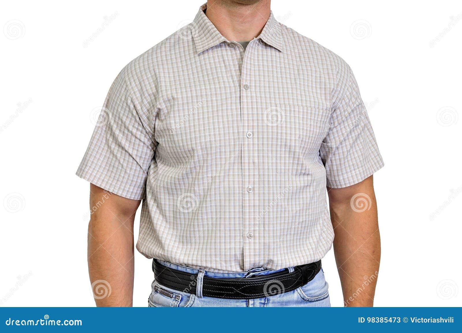 Het Overhemd.Torso Van Een Mens Gekleed In Burgerlijke Kleren Onderaan Het