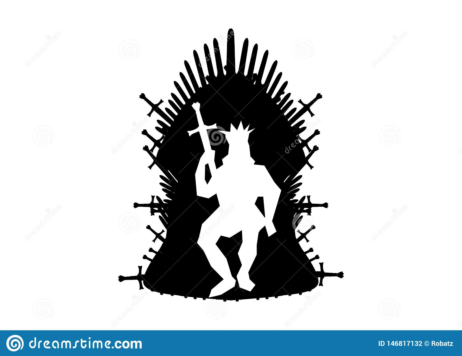 Iron throne icon. Vector illustration isolated or white background