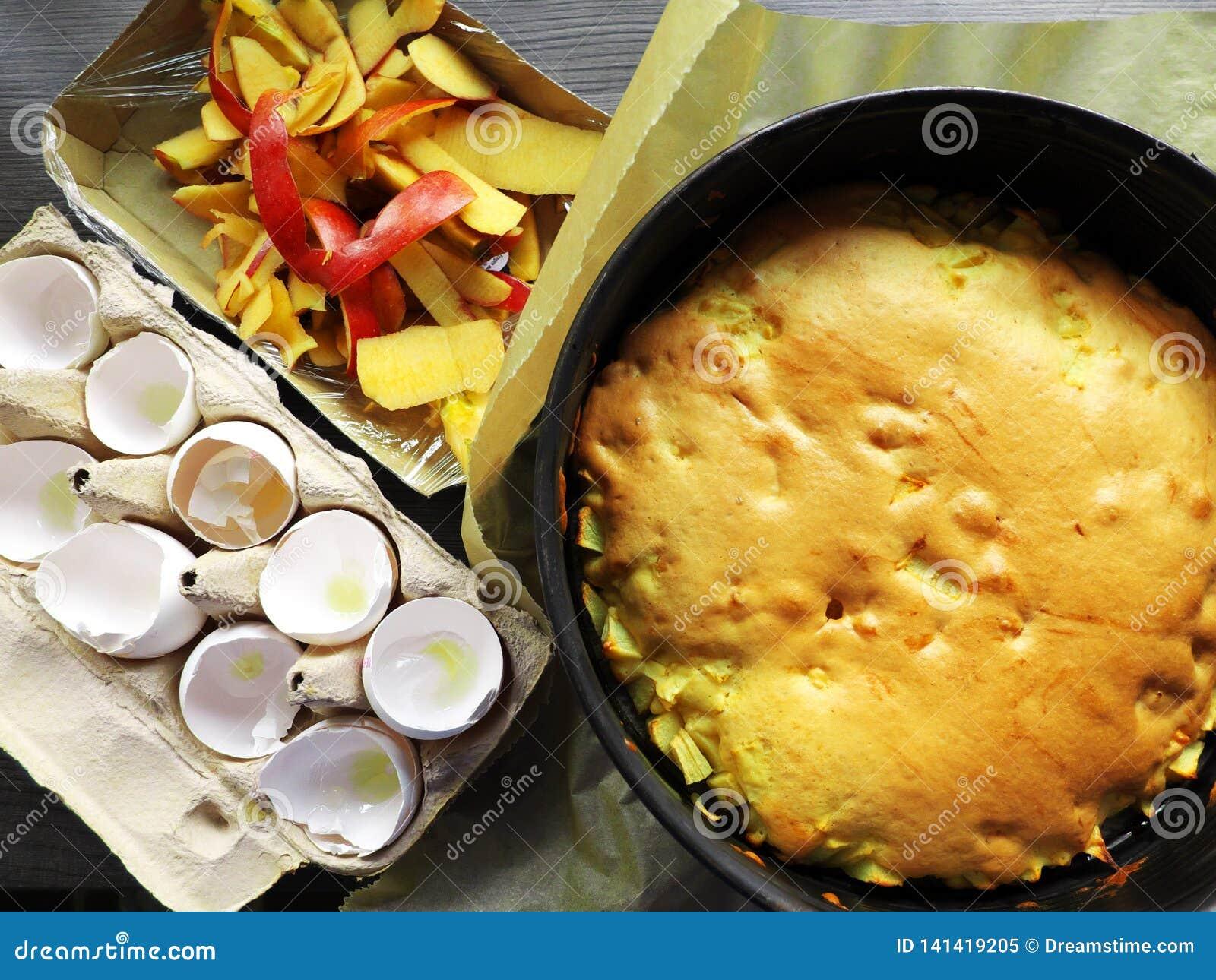 Torta al forno di Charlotte insieme agli ingredienti - coperture dell uovo e pelle vuote di una mela