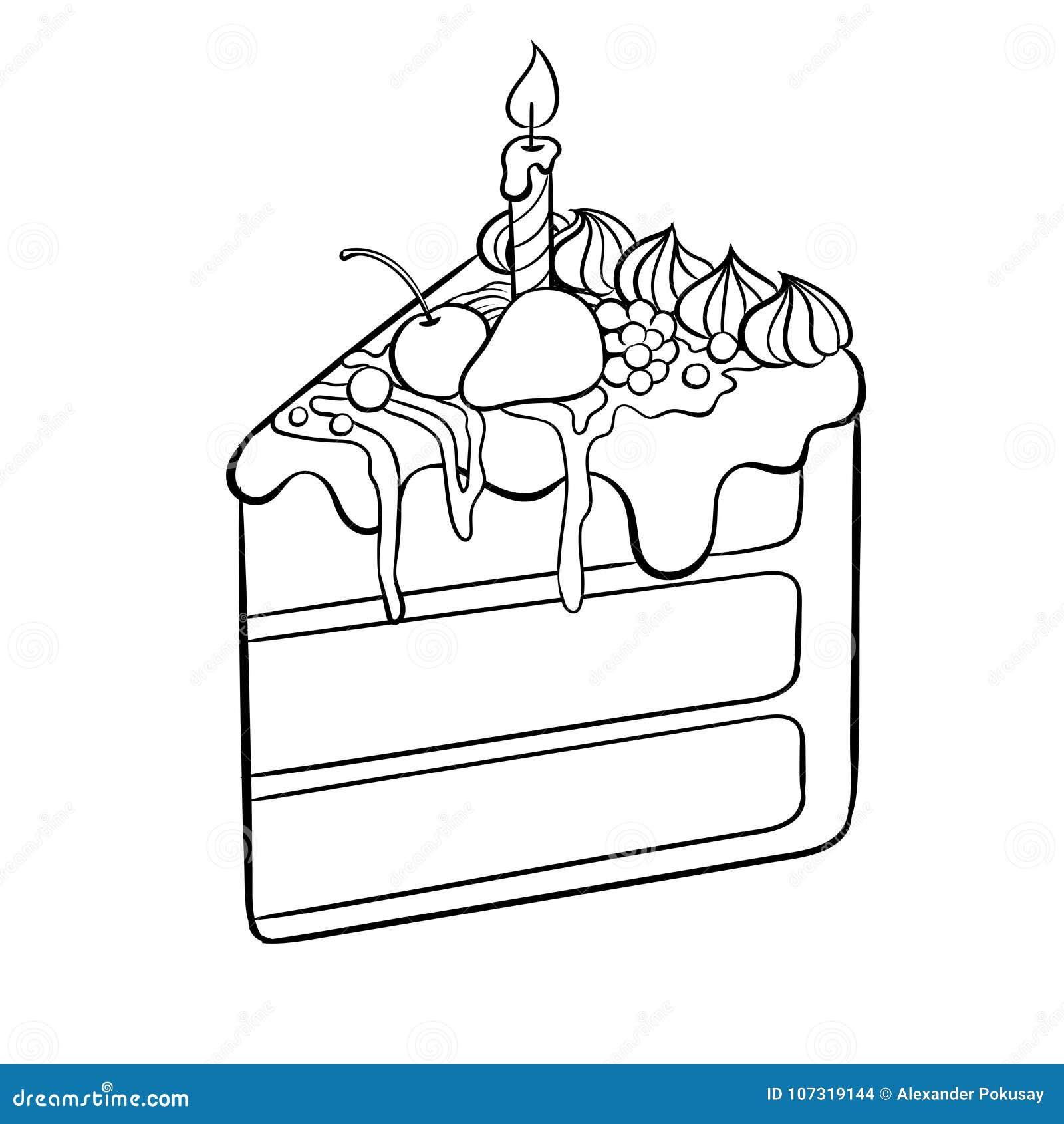 Torta Con El Ejemplo Del Vector Del Libro De Colorear De La Vela ...