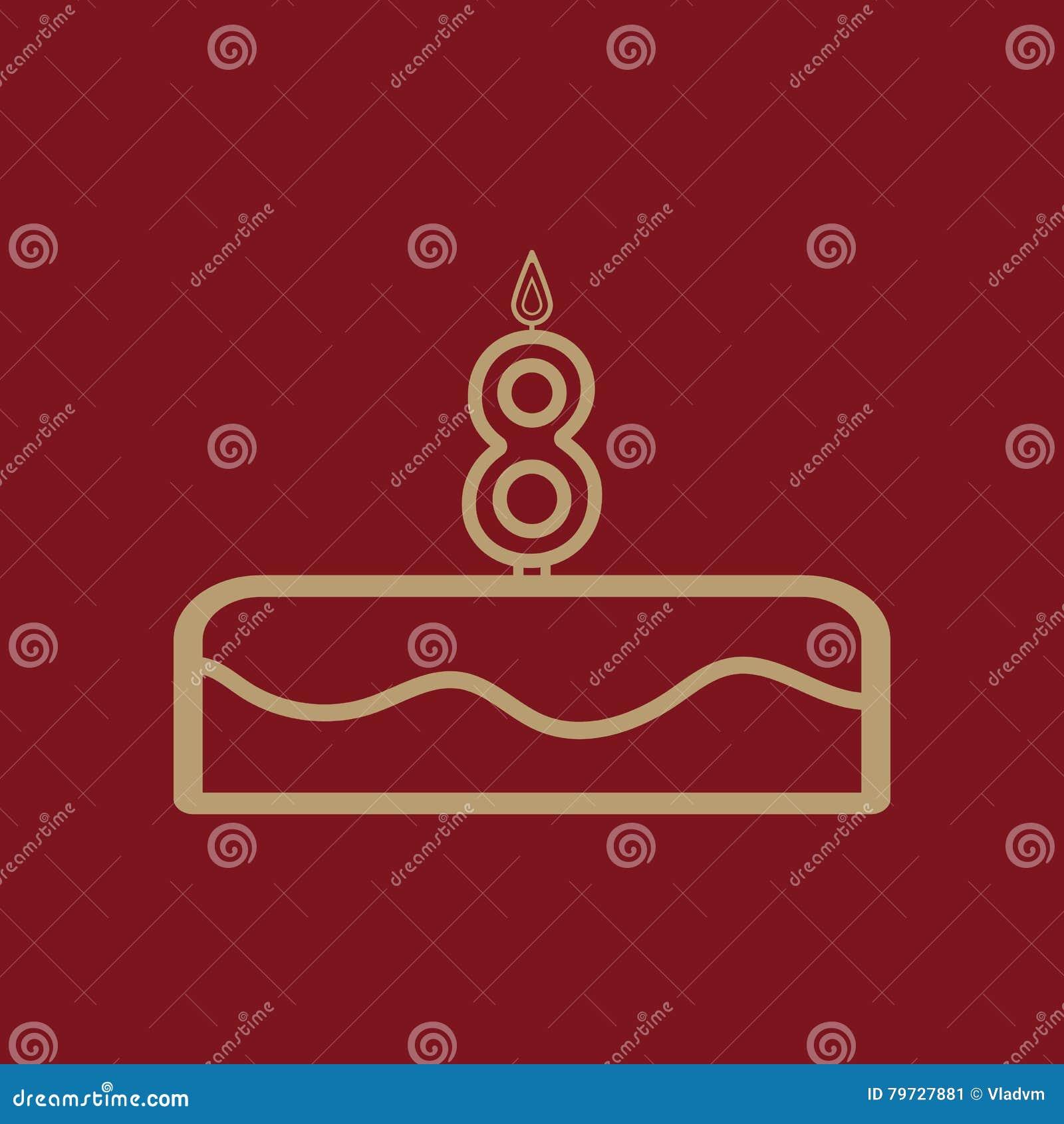 Torta con las velas bajo la forma de icono del número 8