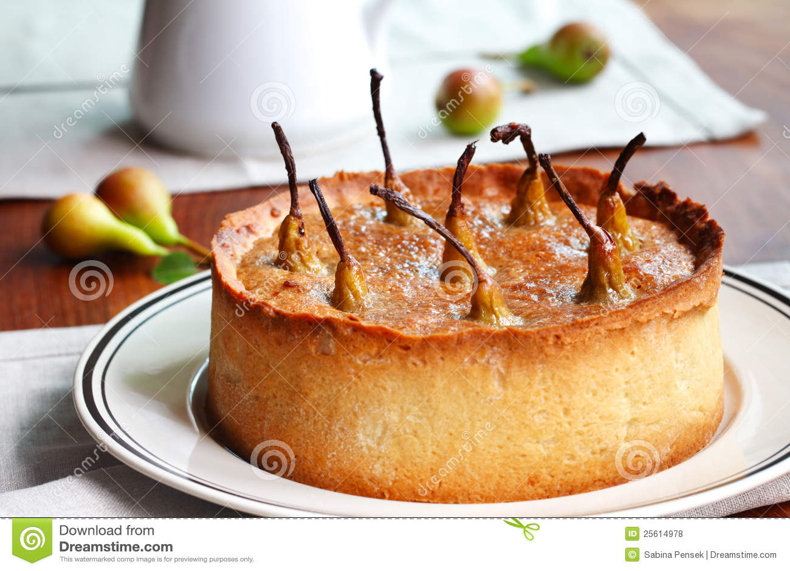 Torta da pera, pastelaria caseiro do prato profundo
