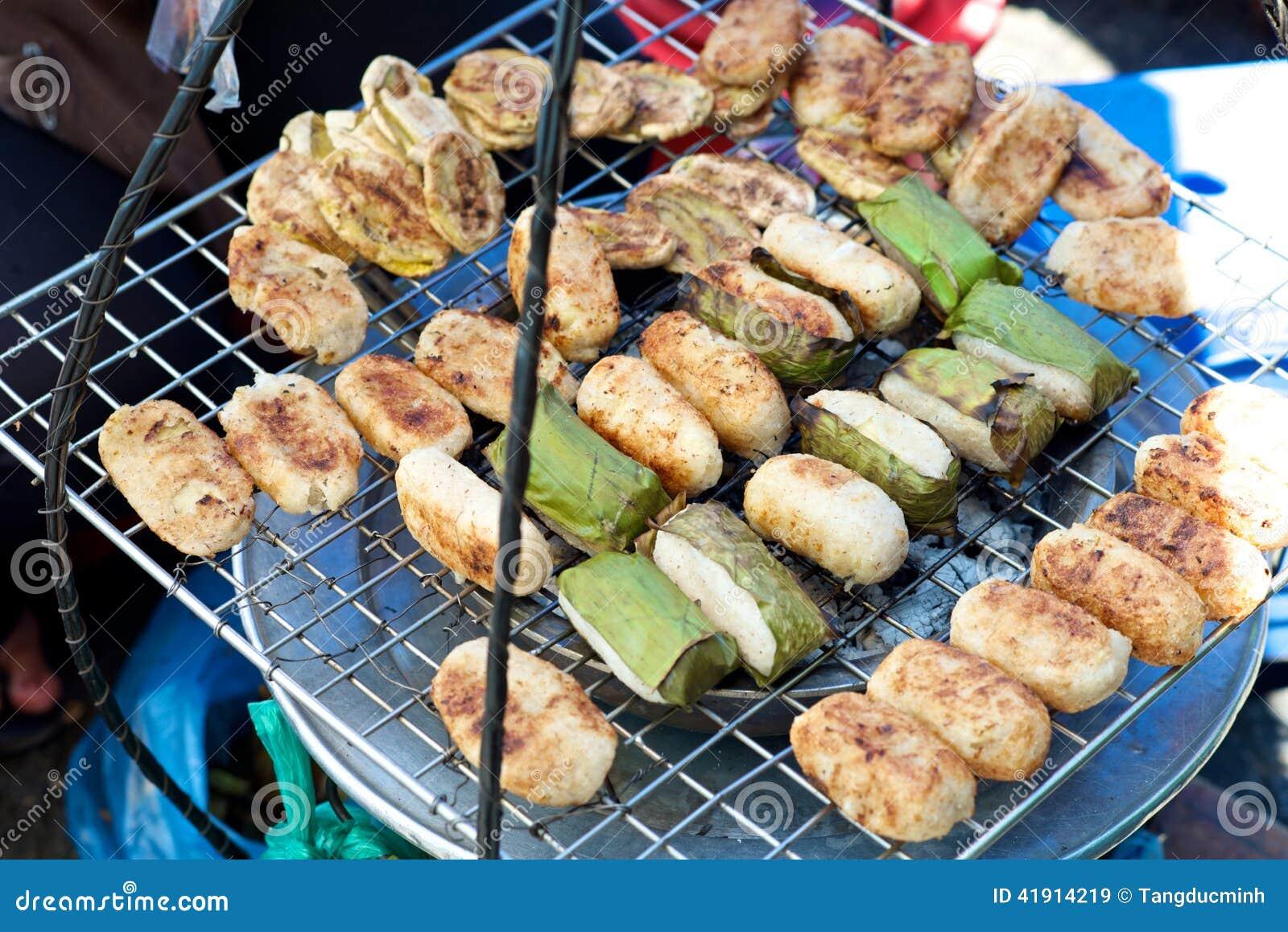Torta de arroz vietnamita del plátano