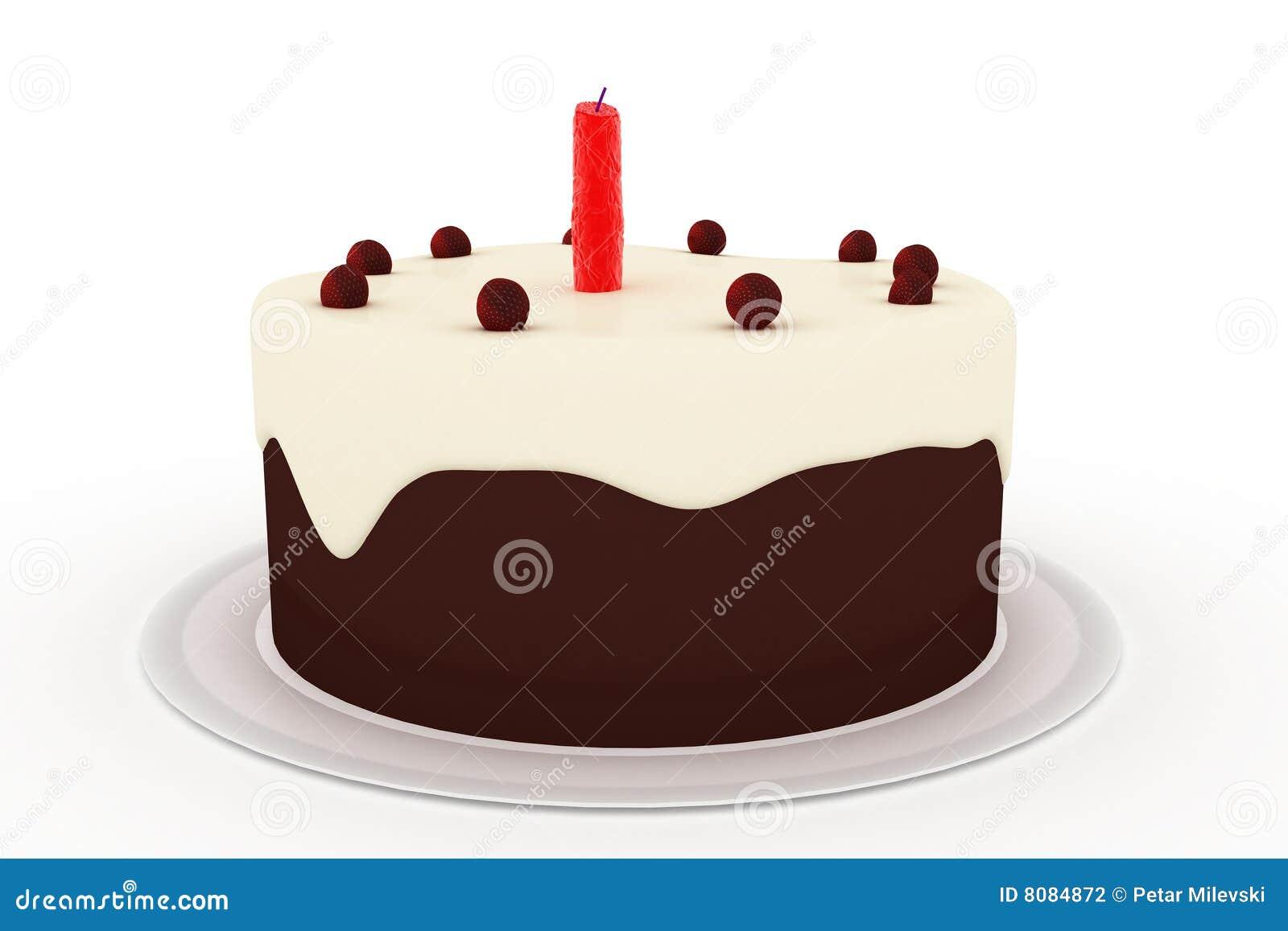 Torta De Cumpleaños Aislada En El Fondo Blanco Stock de ilustración ...
