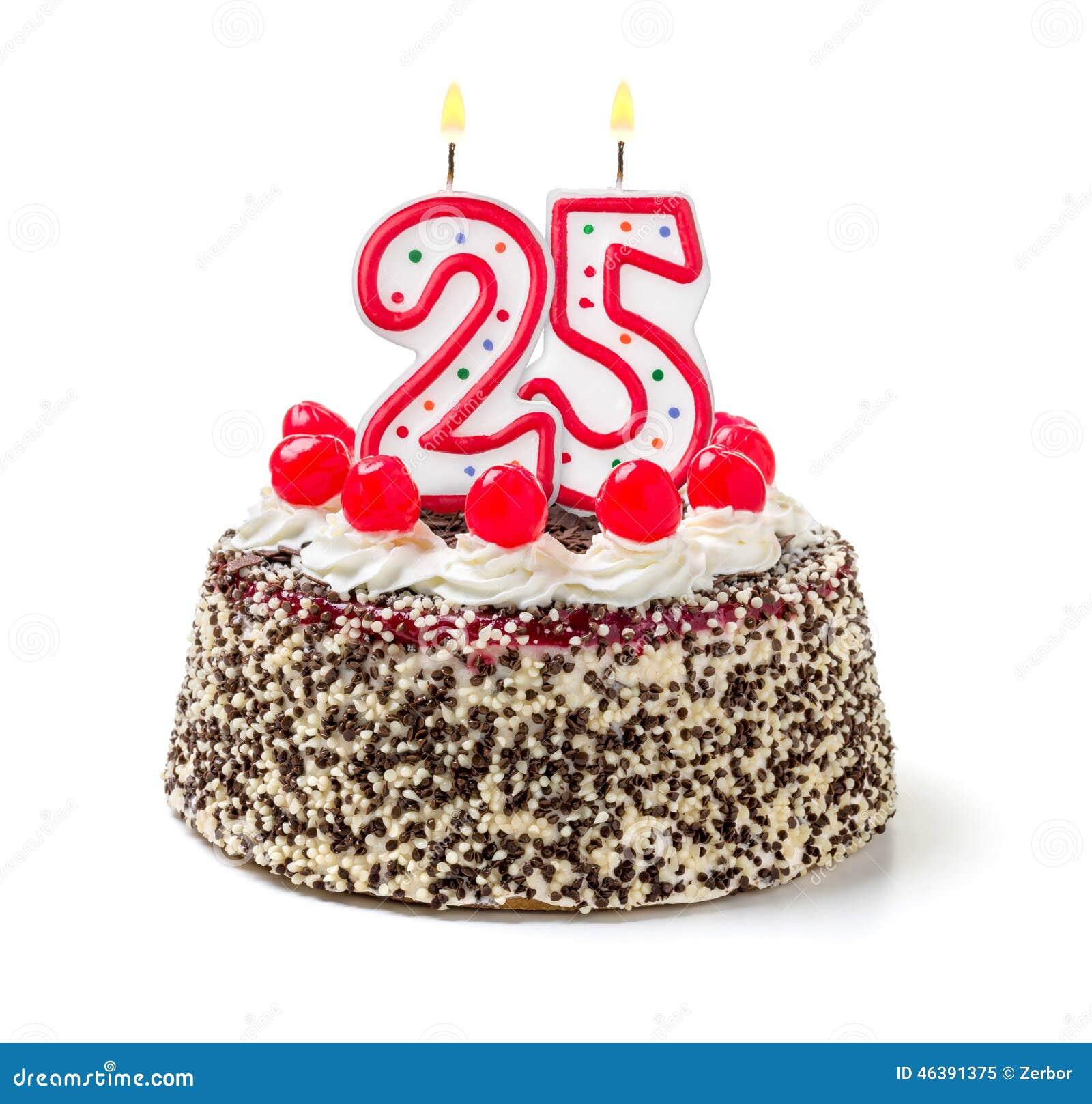Torta De Cumpleanos Con La Vela Numero 25 Imagen De Archivo Imagen