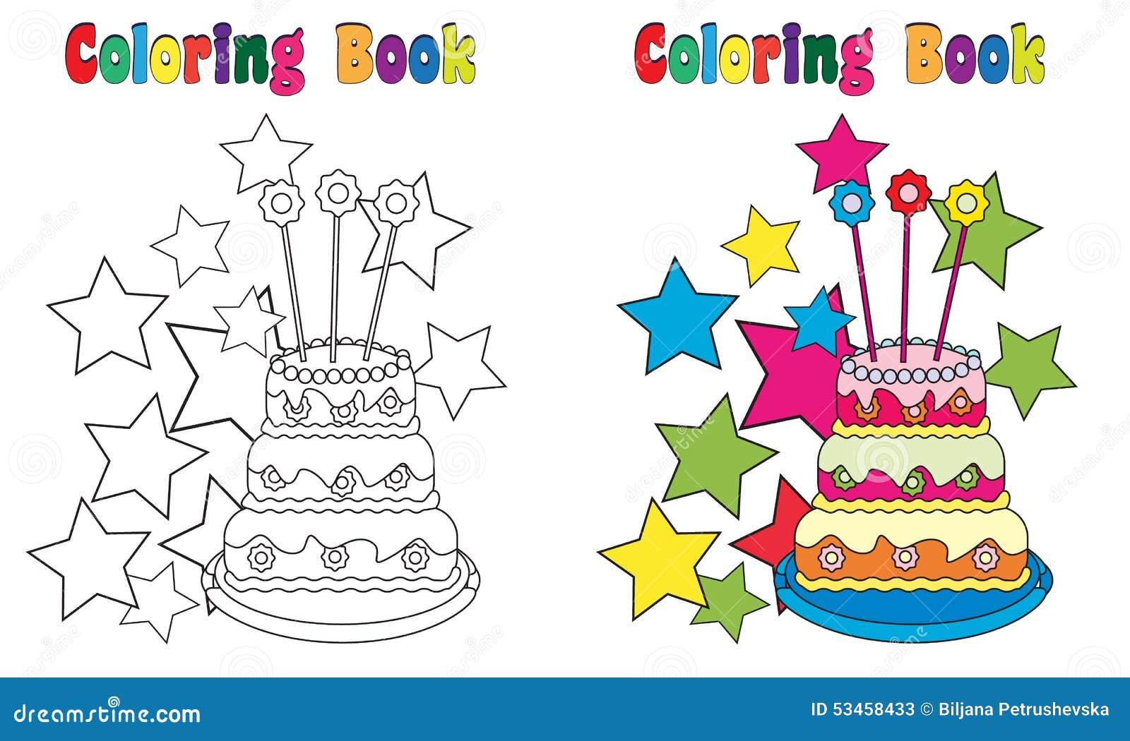 Torta De Cumpleaños Del Libro De Colorear Ilustración del Vector ...