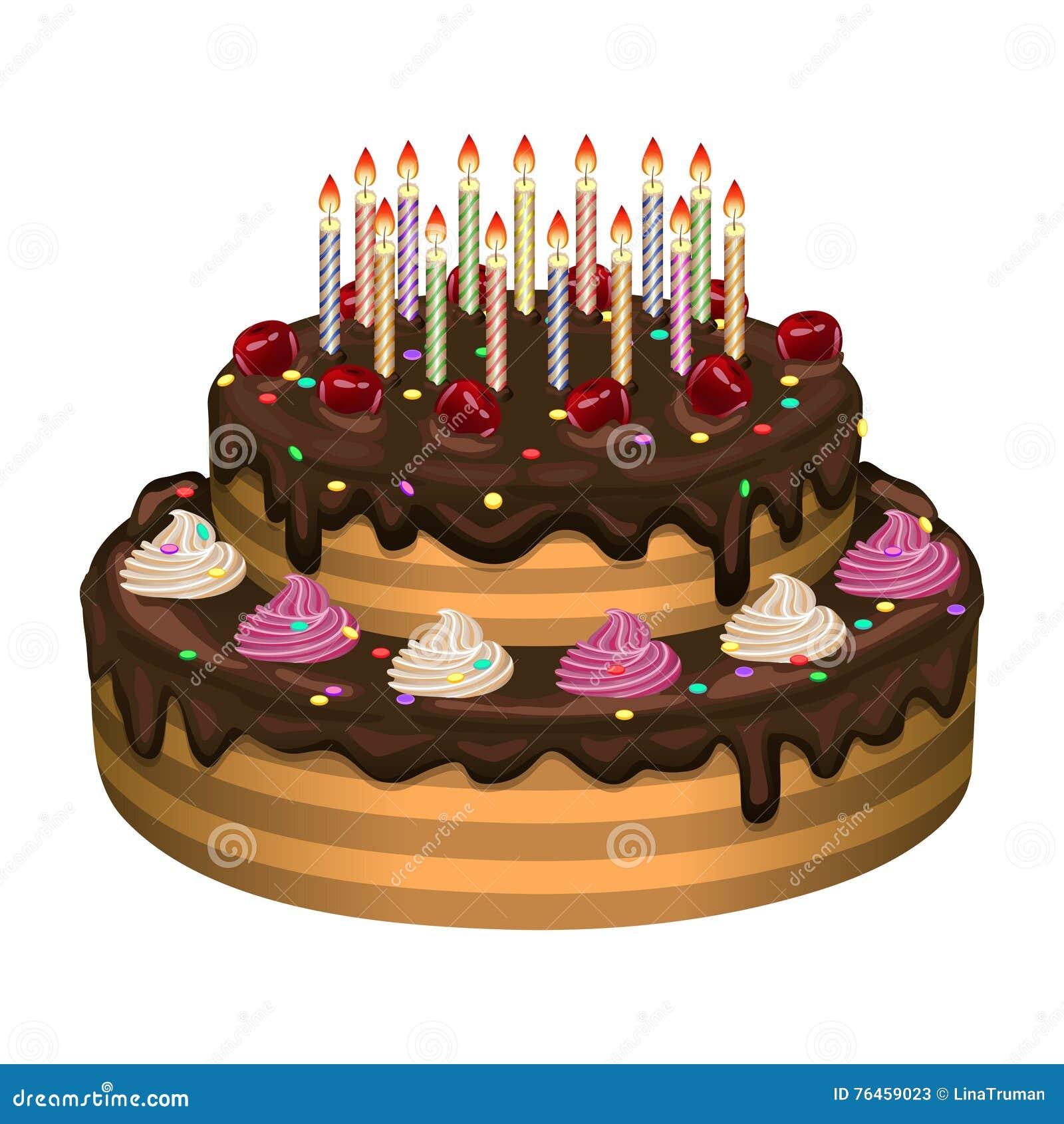 Torta De Cumpleaños En Un Fondo Blanco Ilustración Del Vector ...