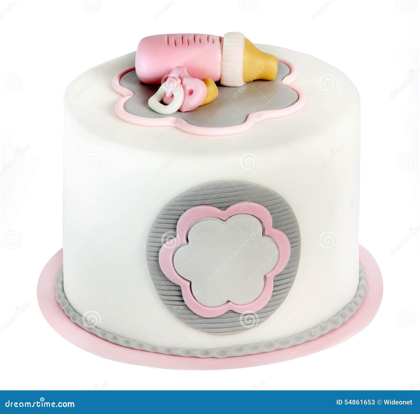 Torta De Cumpleaños Rosada Para El Bebé Aislado En El Fondo Blanco ...