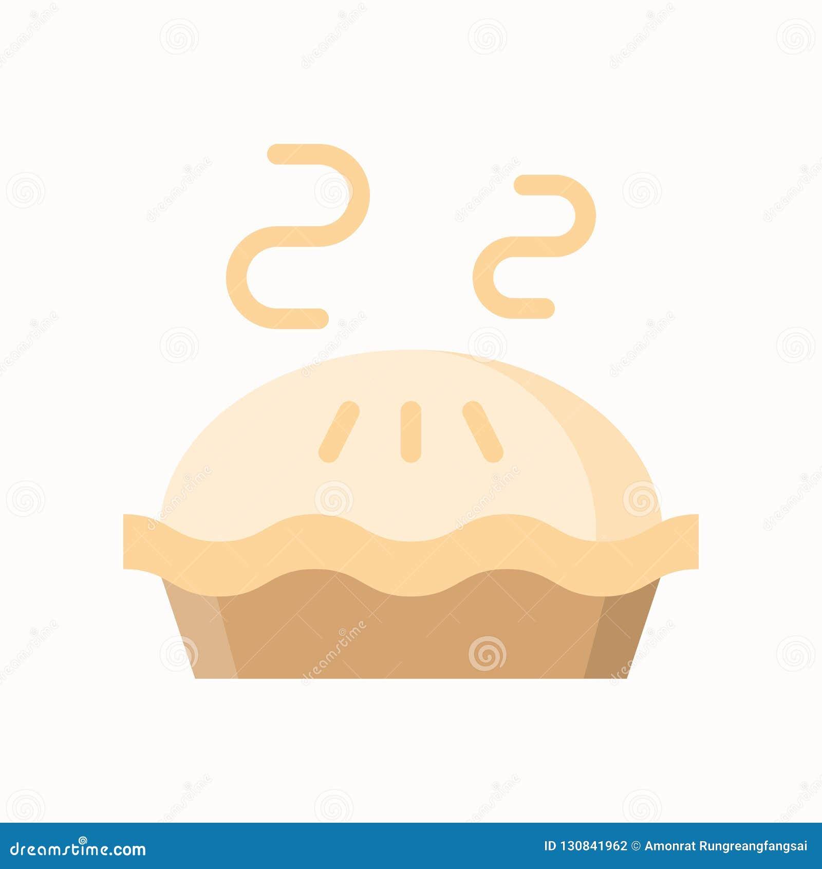 Torta de maçã quente, ícone simples no grupo liso do estilo, da padaria e da pastelaria