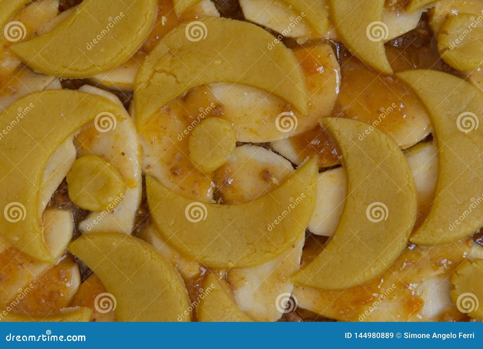 Torta del atasco del albaricoque y de la manzana