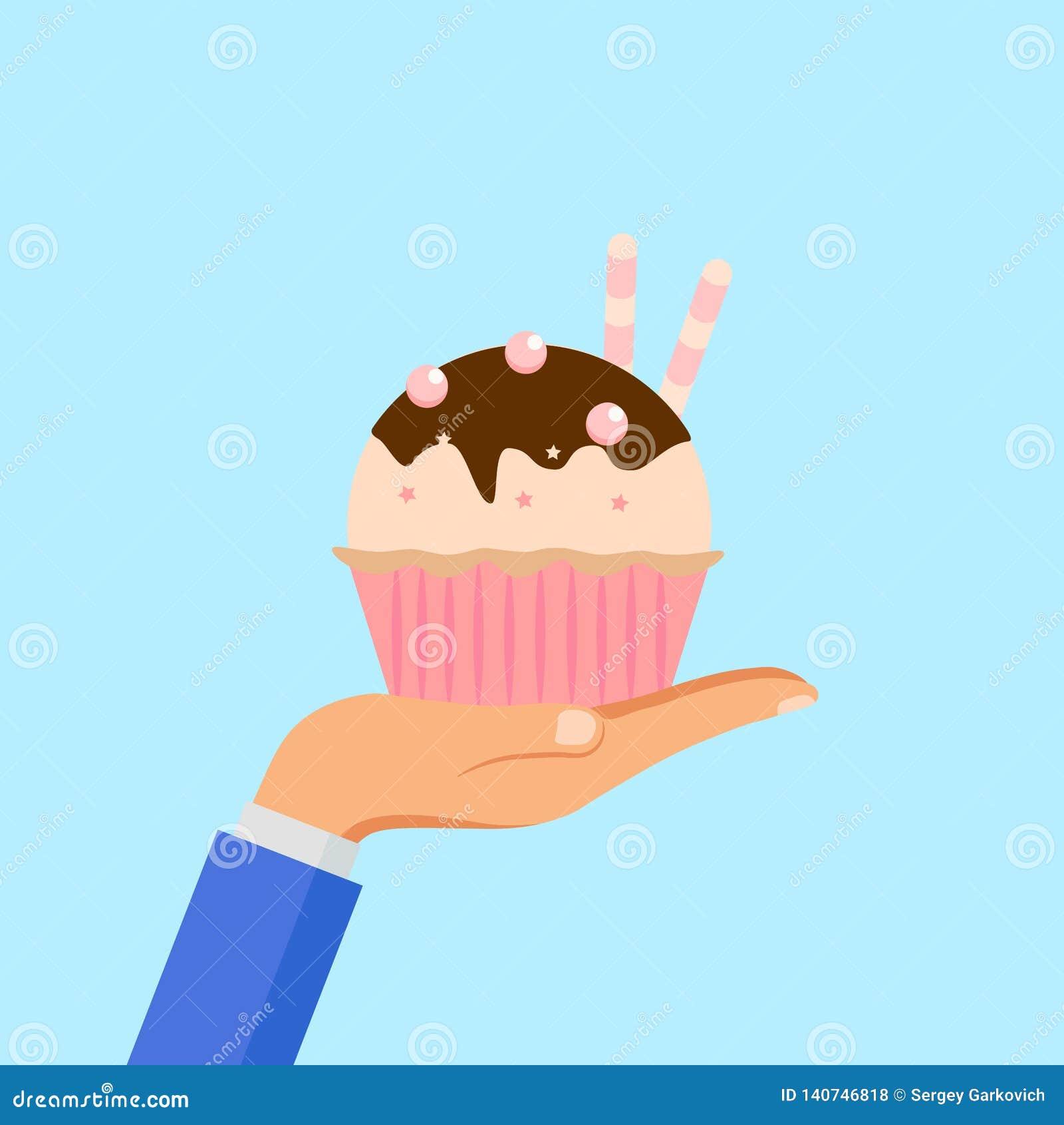 Torta deliciosa del control de la mano, mollete aislado en fondo Panadería hecha en casa dulce colorida con el chocolate Magdalen