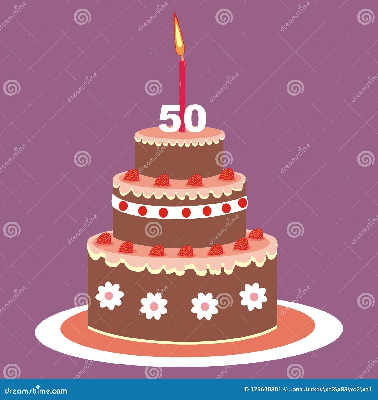 Torta Di Compleanno 50 Anni Illustrazione Di Vettore Illustrazione