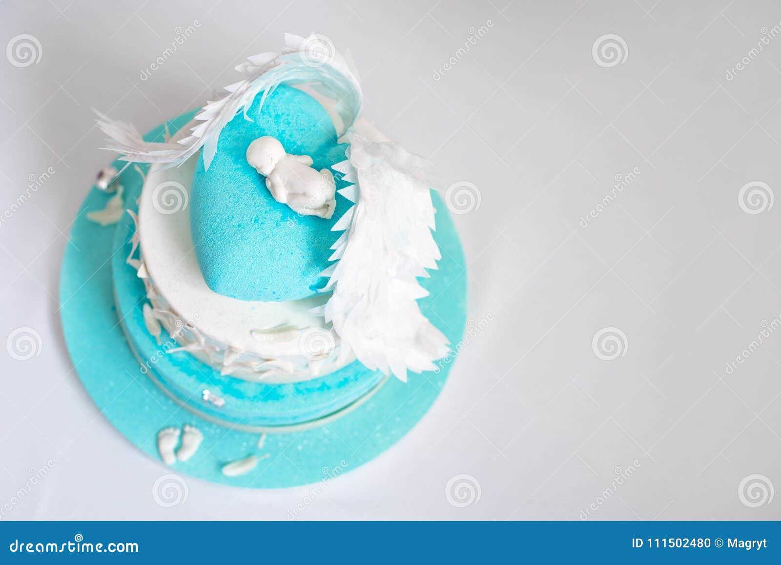 Torta di compleanno blu per il bambino Primo compleanno del bambino Copi lo spazio per testo