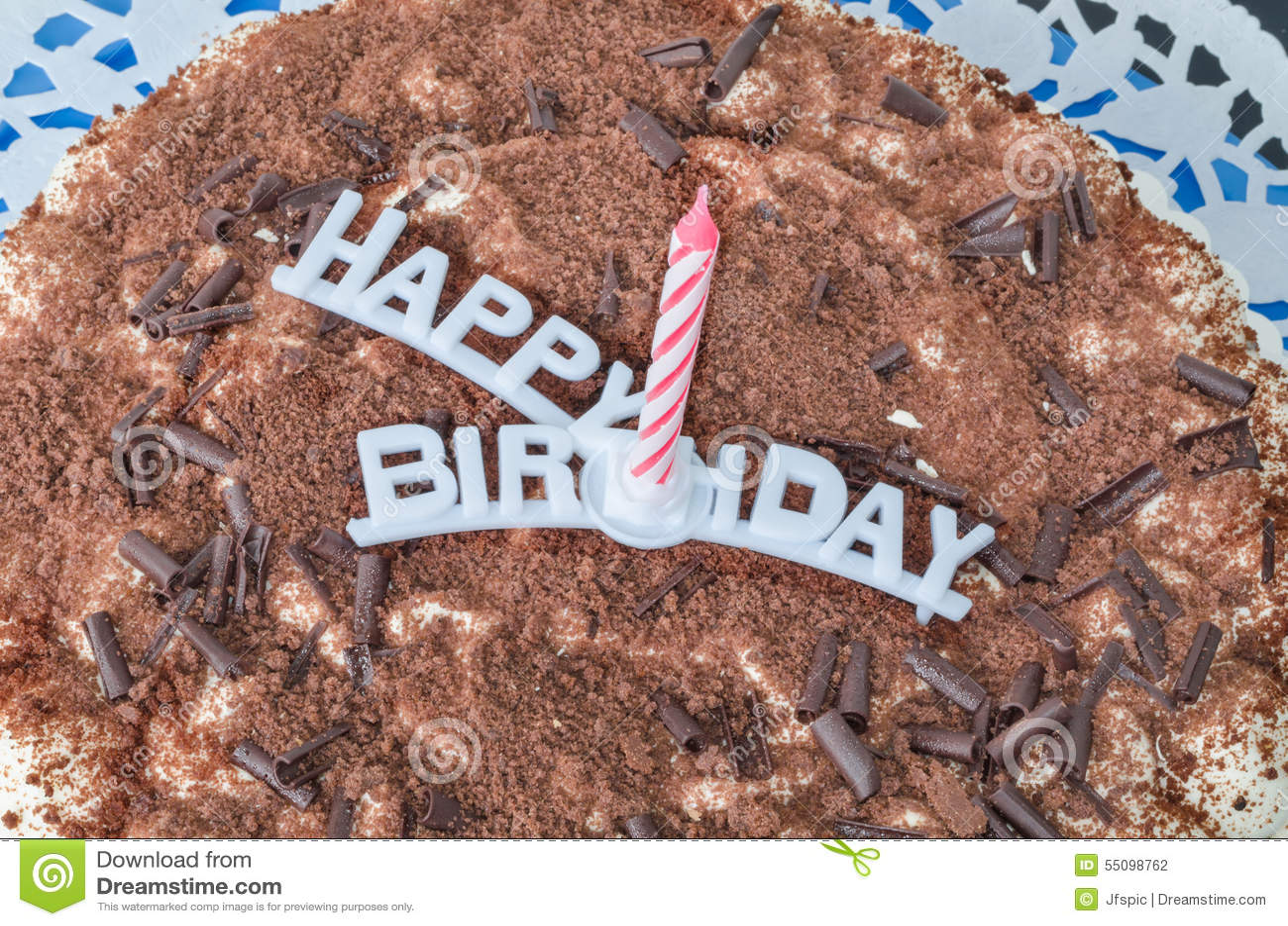 Torta di compleanno, candela, buon compleanno