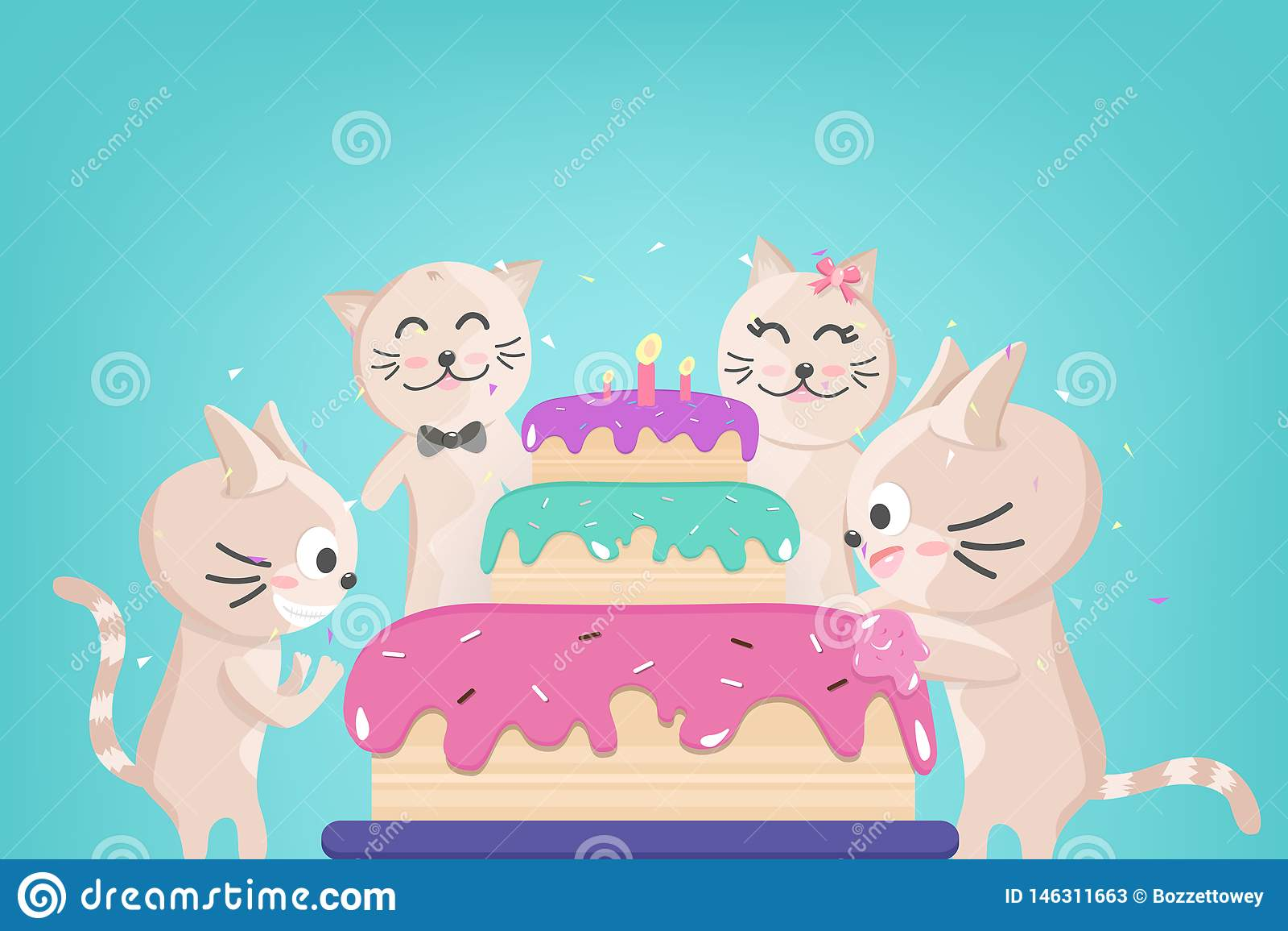 Torta di compleanno felice, celebrazione di famiglia sveglia del gattino, coriandoli che cadono per il partito, animale adorabile