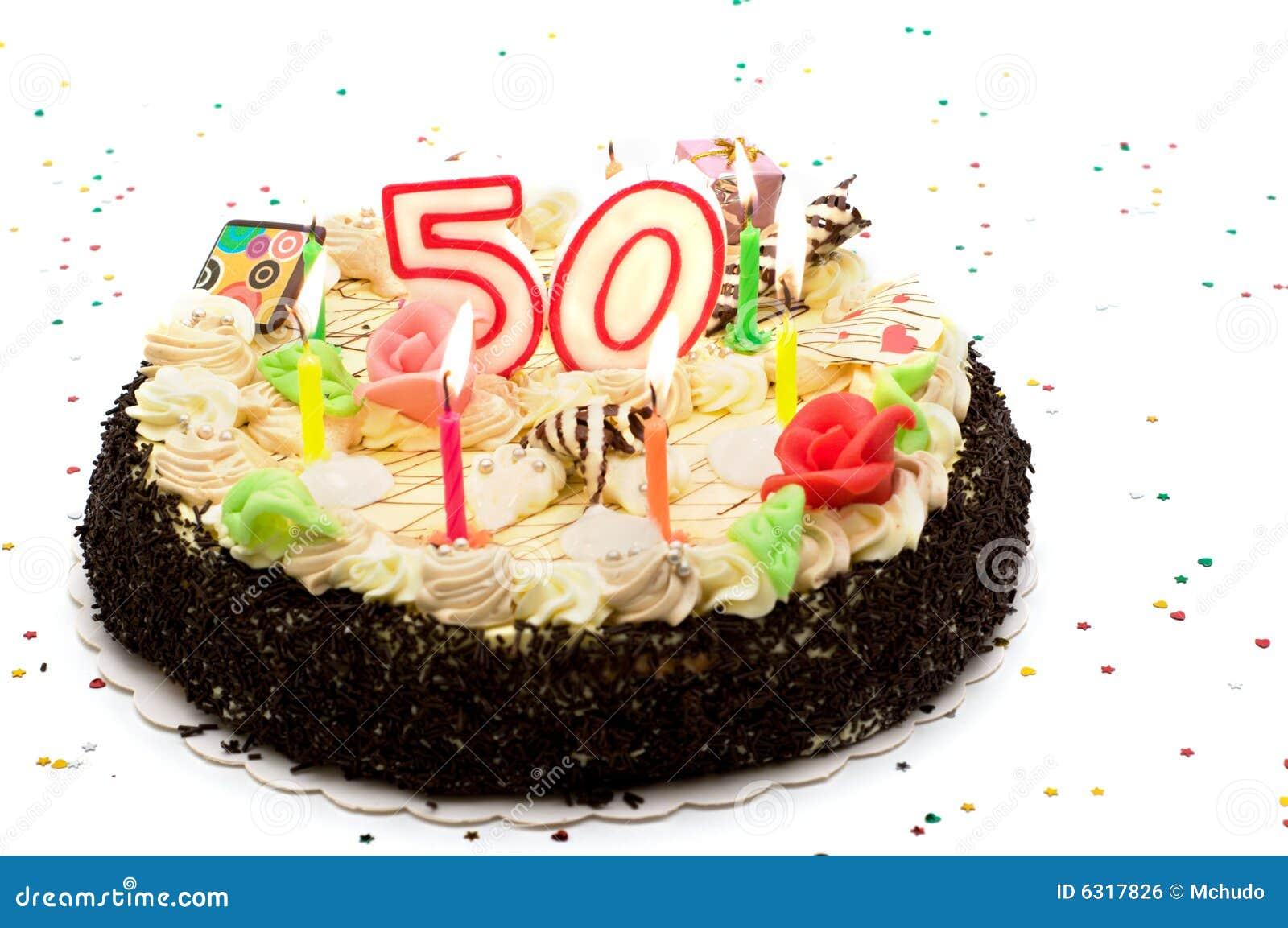 Torta Di Compleanno Per 50 Anni Di Giubileo Fotografia Stock