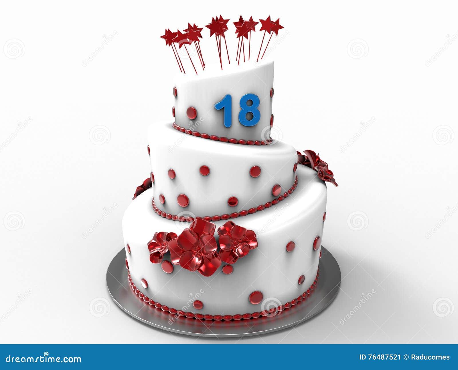 Torta Di Compleanno Per 18 Anni Illustrazione Di Stock