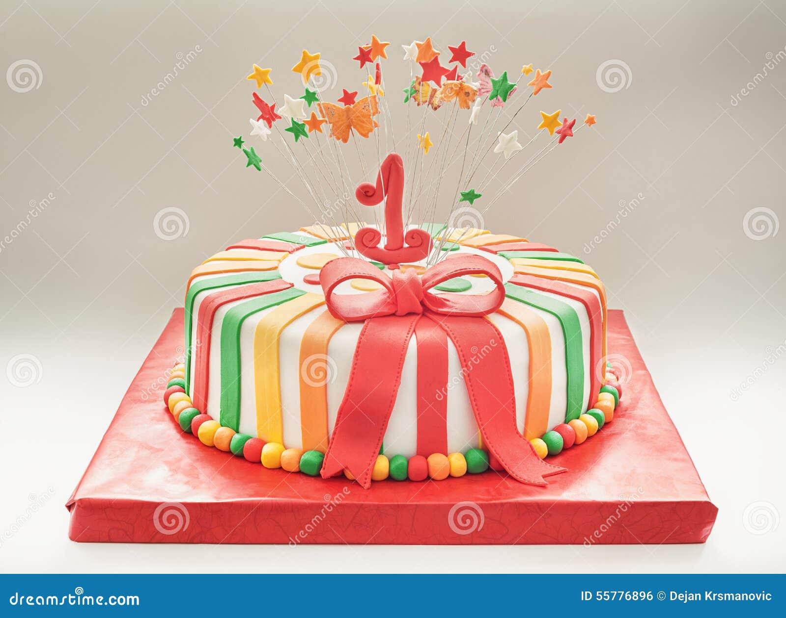 Top Torta Di Compleanno Per Il Primo Anno Fotografia Stock - Immagine  AU62