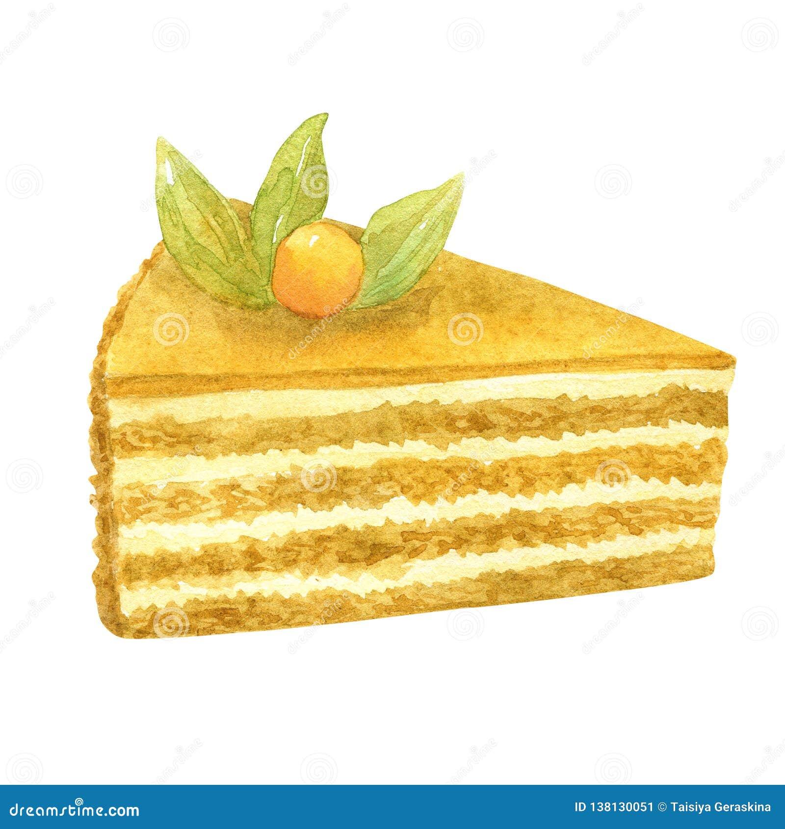 Torta di miele affettata Biscotto, crema e bacca beige come decorazione Illustrazione disegnata a mano dell acquerello Isolato su