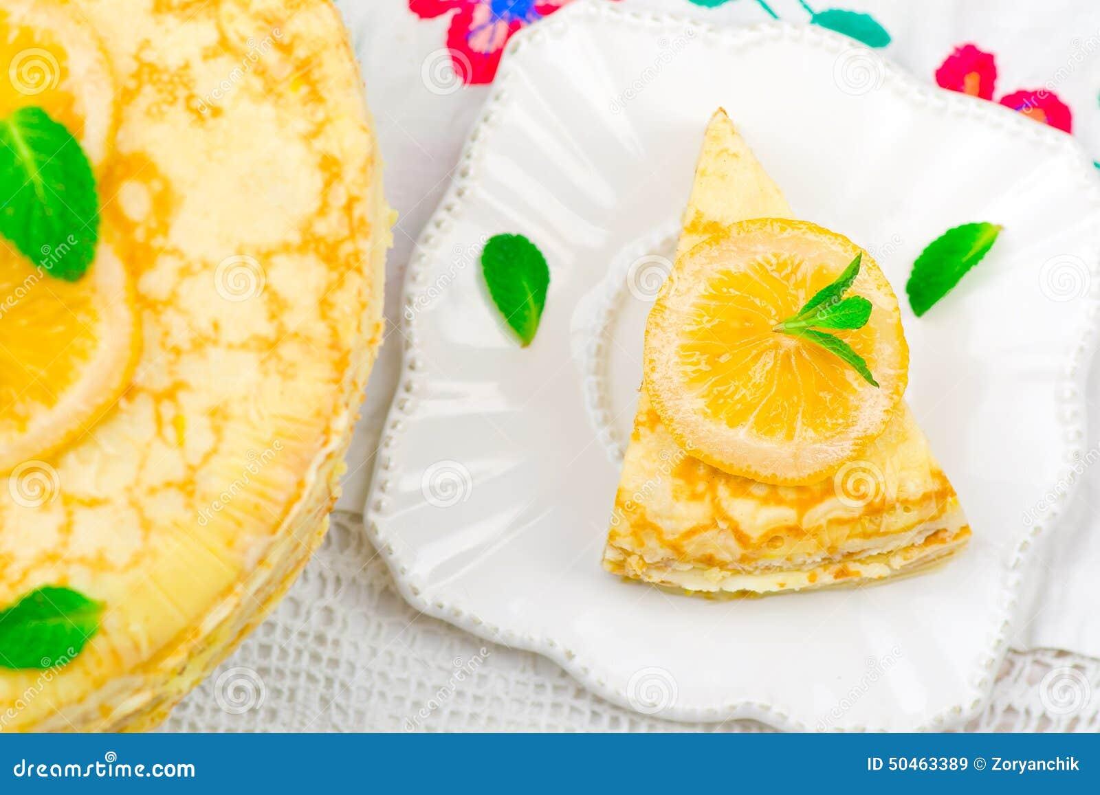Torta dos Blinis com o coalho de limão