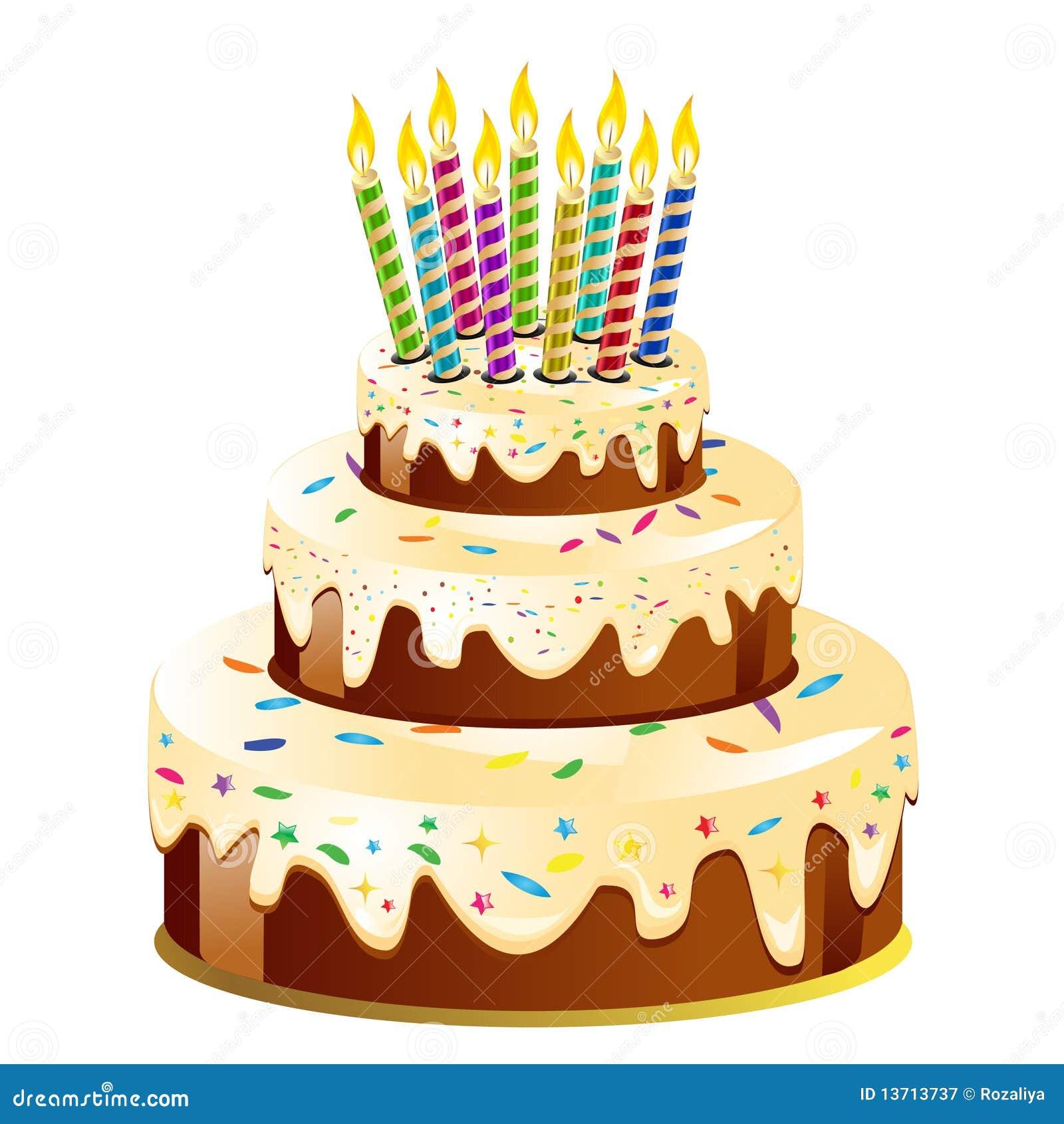 Torta E Candela Di Compleanno Illustrazione Vettoriale
