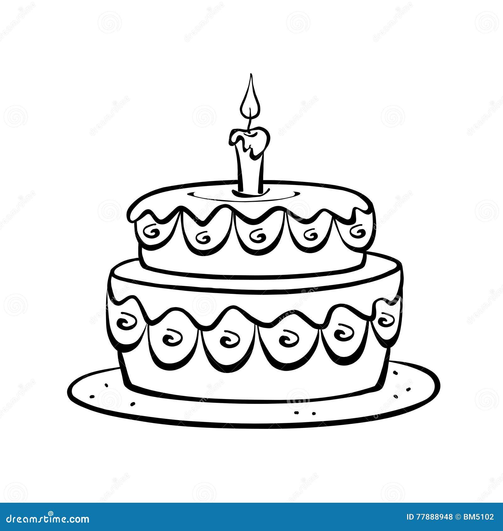 Torta En Blanco Y Negro Stock de ilustración